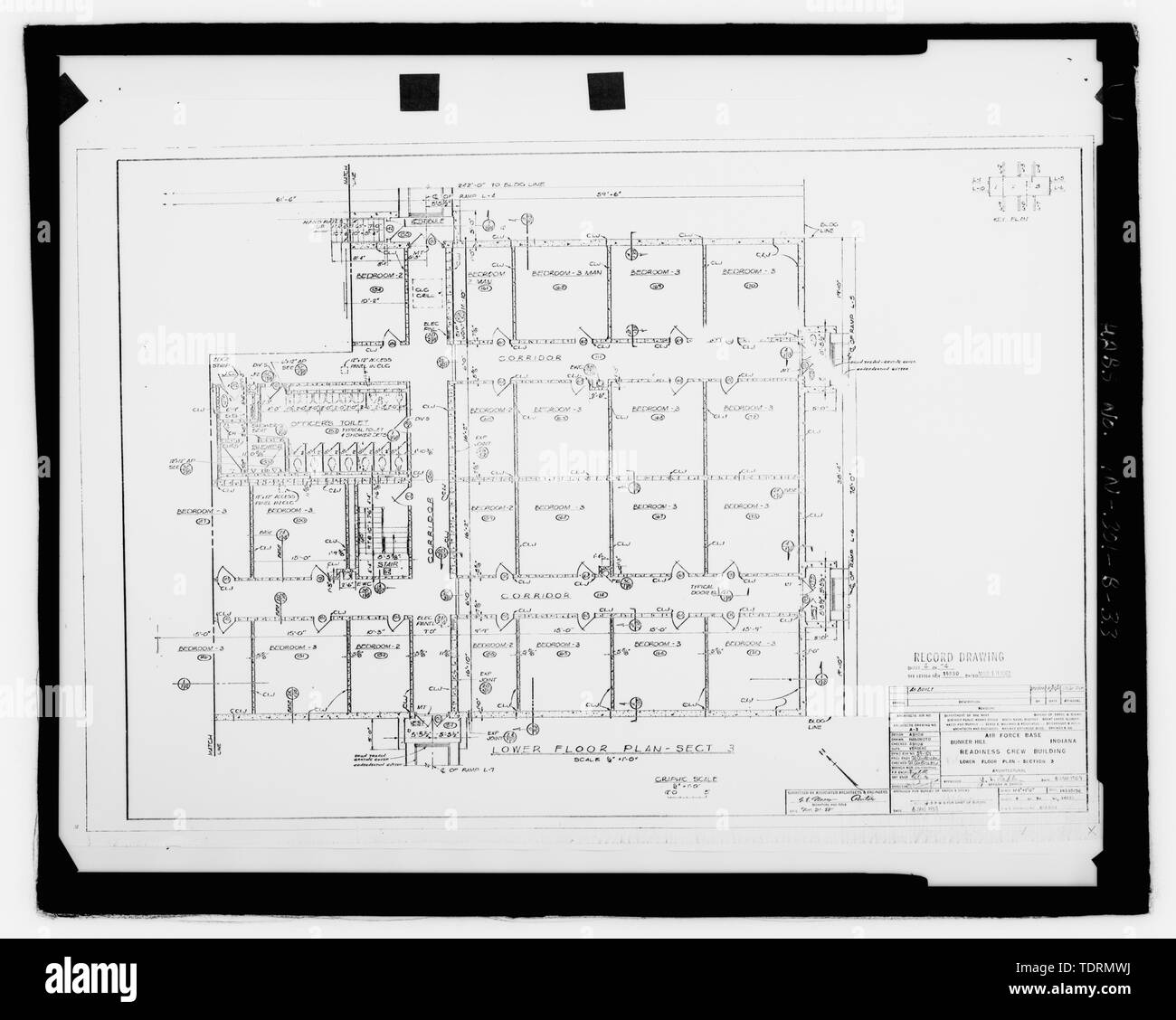 Photographic copy of original construction drawing (dated 1959)). Plan of southern section of lower level - Grissom Air Force Base, Building No. 747, Peru, Miami County, IN; Air Force Base Conversion Agency; U.S. Department of the Navy; Hardlines Design Company, contractor; Portage Environmental, Incorporated (PEI), contractor; Kumar, Rebecca, transmitter; Bates, Jeff, photographer; Atkins, Parker, historian; Lyman, Malini, historian Stock Photo