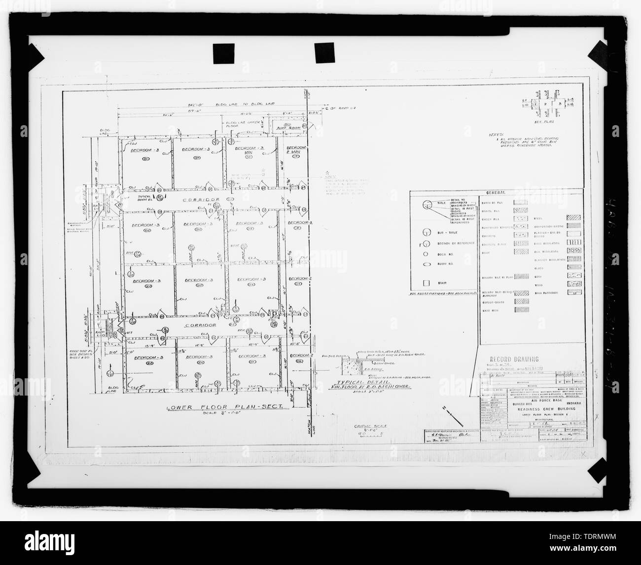Photographic copy of original construction drawing (dated 1959, in possession of the Grissom Air Force Baase Conversion Agency, Grissom Air Reserve Base, Peru, Indiana. This source is the same for views 32-36). Plan of northern section of lower level - Grissom Air Force Base, Building No. 747, Peru, Miami County, IN; Air Force Base Conversion Agency; U.S. Department of the Navy; Hardlines Design Company, contractor; Portage Environmental, Incorporated (PEI), contractor; Kumar, Rebecca, transmitter; Bates, Jeff, photographer; Atkins, Parker, historian; Lyman, Malini, historian Stock Photo