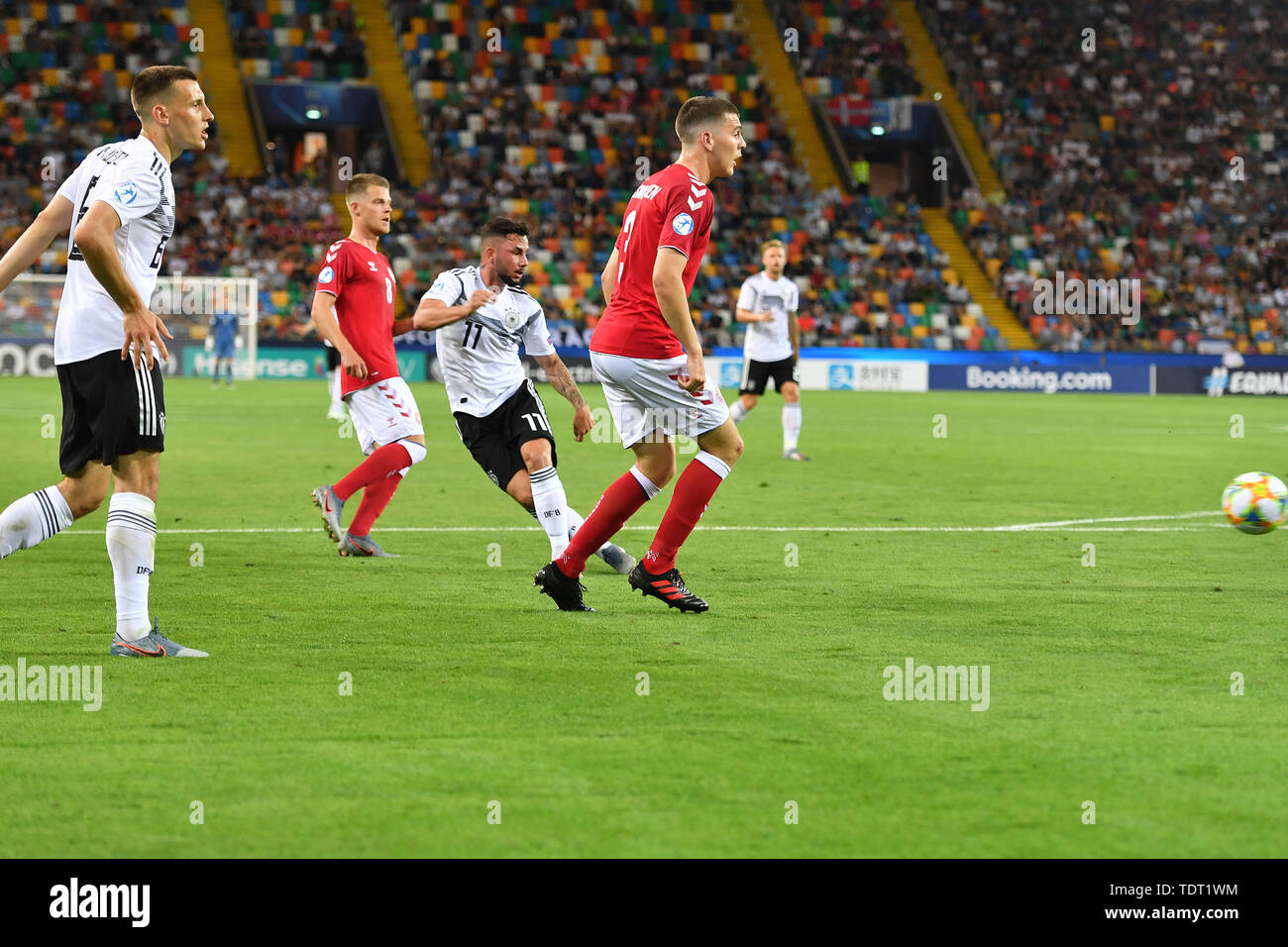 Marco RICHTER (GER) scores the goal to 1-0, Aktion, goalschuss, Germany (GER) -Daenemark (DEN) 3-1, on 17.06.2019 Stadio Friuli Udine. Football U-21, UEFA Under21 European Championship in Italy/SanMarino from 16.-30.06.2019. | Usage worldwide - Stock Image