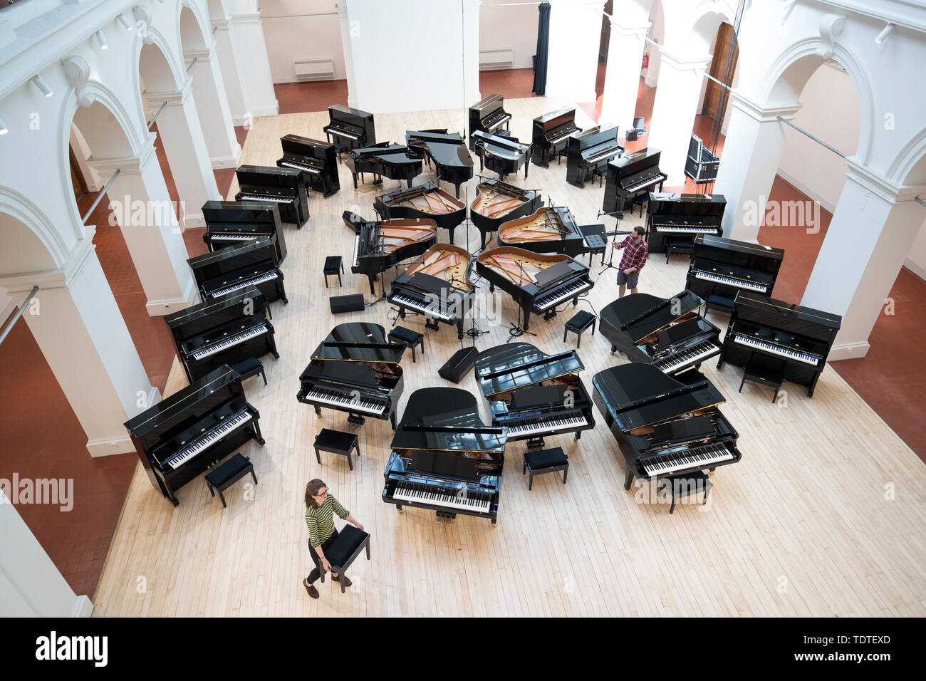 28 Steinway Pianos Take Centre Stage In The Sculpture Court At The Edinburgh College Of Art Before They Are All Played Together In A Spectacular One Off Performance By Students Staff And Professional