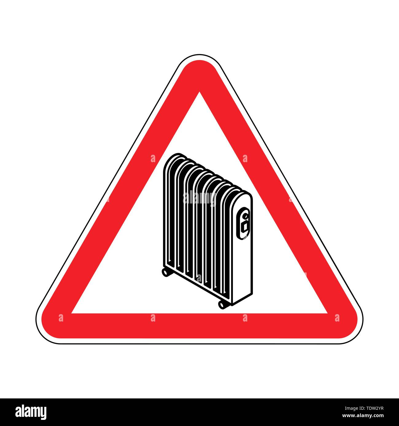 Attention Radiator heat . Warning red road sign. Caution Electric heating radiator - Stock Image
