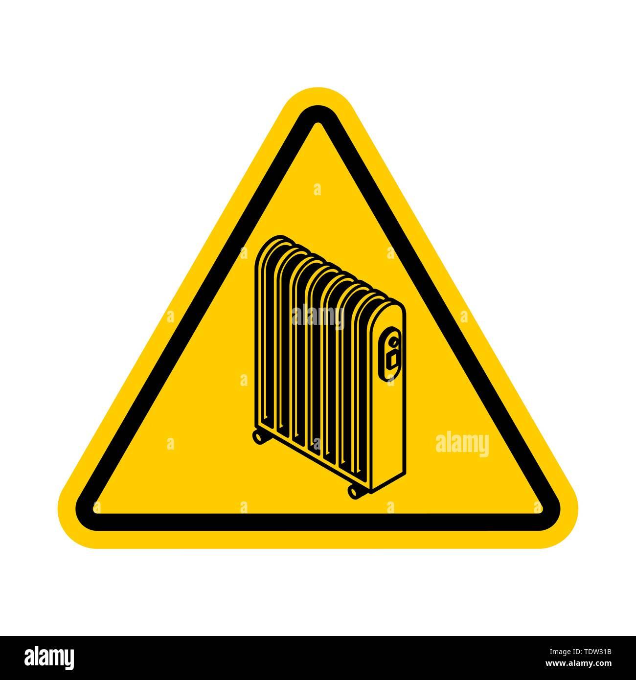 Attention Radiator heat . Warning yellow road sign. Caution Electric heating radiator - Stock Image