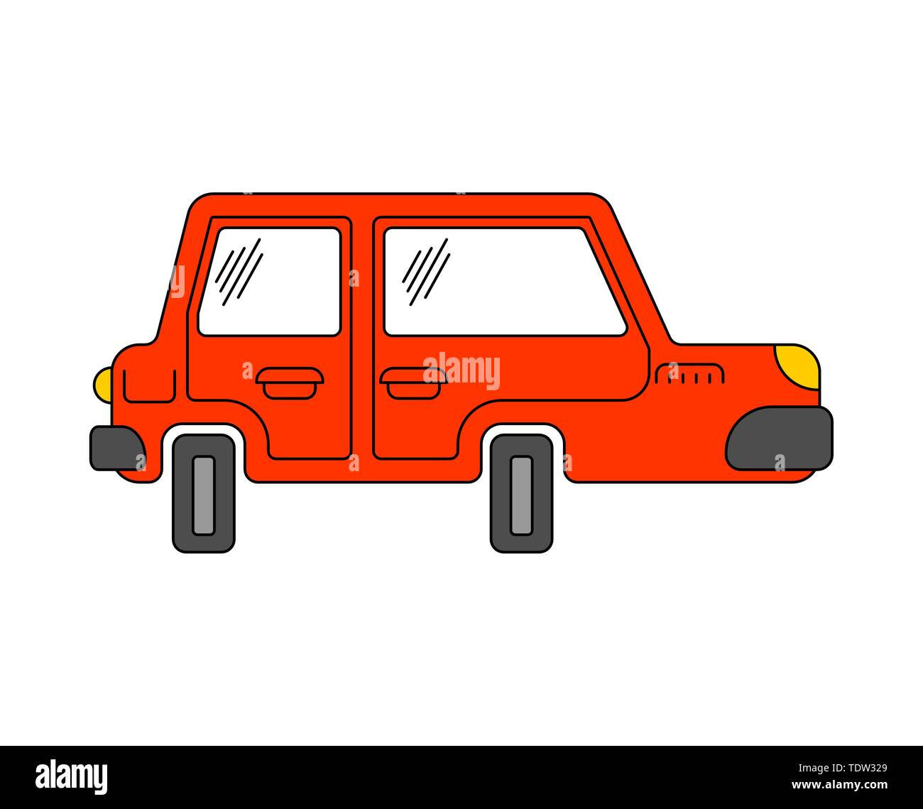 Cartoon car isolated. machine Childrens style. Vector illustration - Stock Image