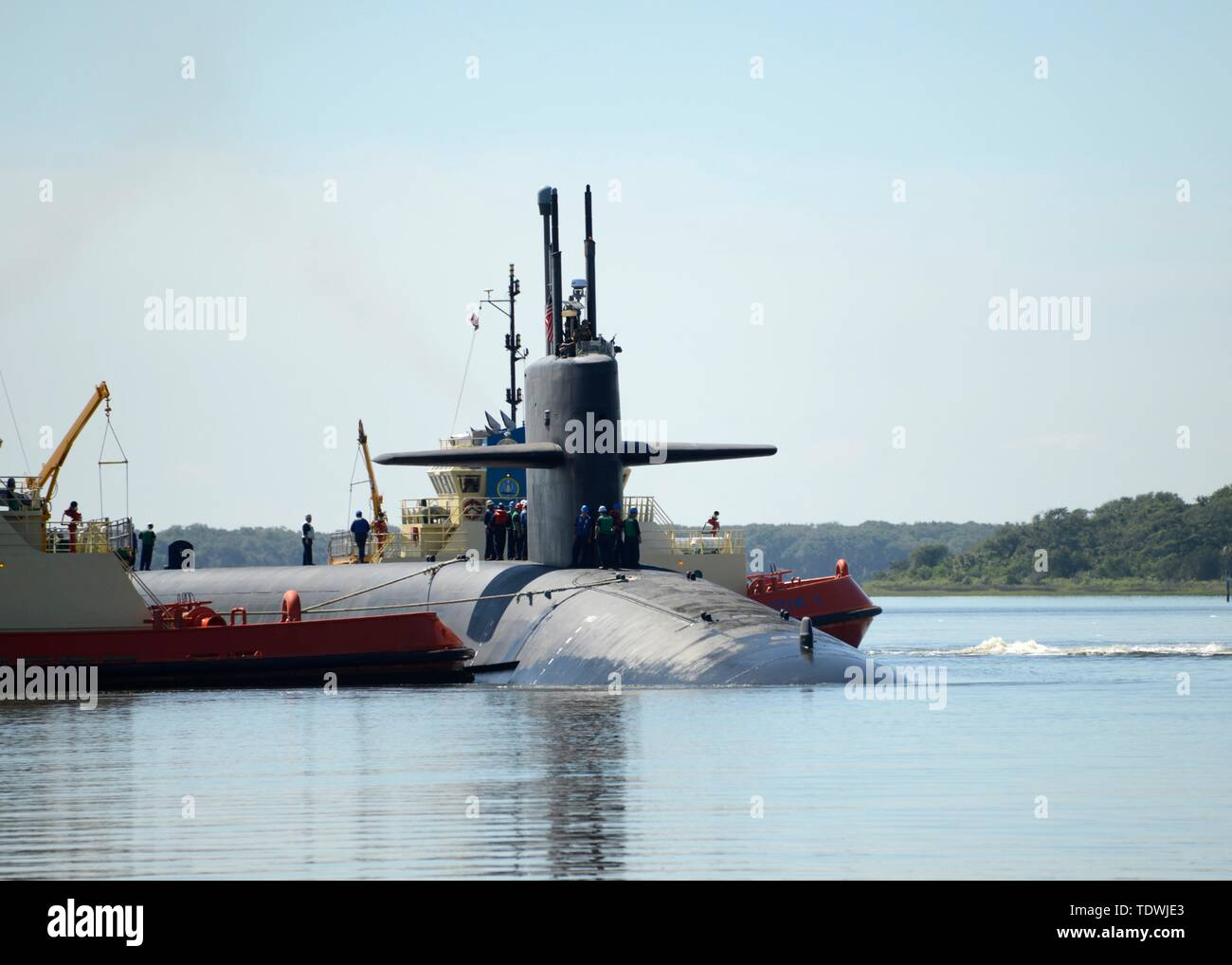 Kings Bay, United States. 18th June, 2019. The U.S. Navy Ohio-class ballistic-missile submarine USS Rhode Island returns to homeport at Naval Submarine Base Kings Bay March 18, 2019 in Kings Bay Georgia. Credit: Planetpix/Alamy Live News - Stock Image