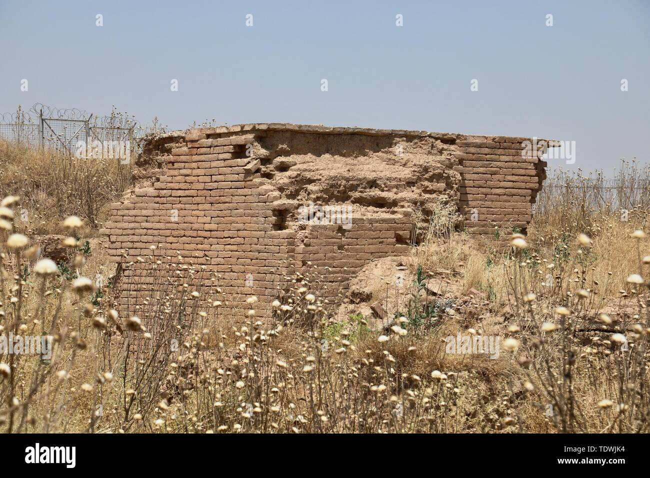(190619) -- NIMRUD (IRAQ), June 19, 2019 (Xinhua) -- The photo taken on June 13, 2019 shows a destroyed temple at archeological site of Nimrud, Iraq. Covered with thick layer of wild weeds, massive destruction of ancient palaces, temples and ziggurat left no signs for the Iraq's glorious archeological site of Nimrud after nearly three years of liberation from Islamic State (IS). (Xinhua) TO GO WITH Feature: Iraqi archaeological site lies in ruins after nearly 3 years of liberation from IS - Stock Image