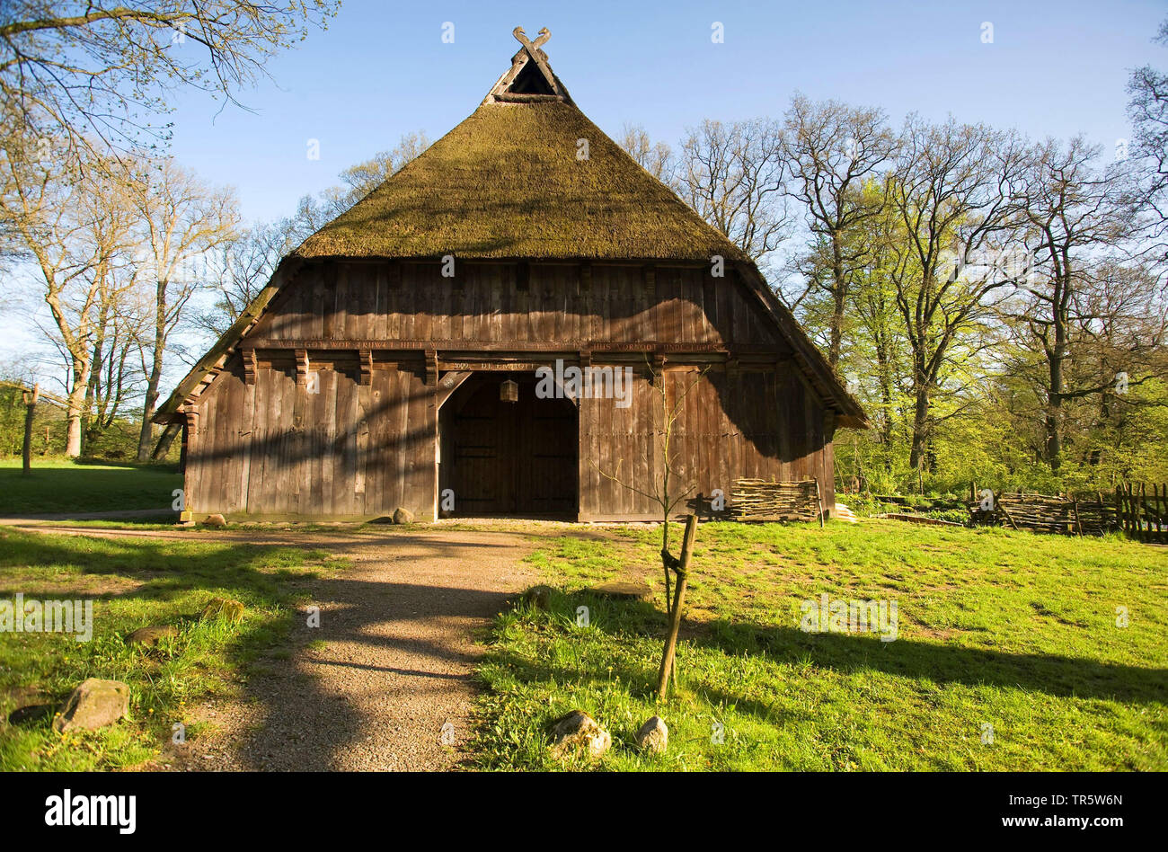 old farmhouse with thatched roof in a open-air museum, Germany, Lower Saxony, Lueneburger Heide, Wilsede - Stock Image
