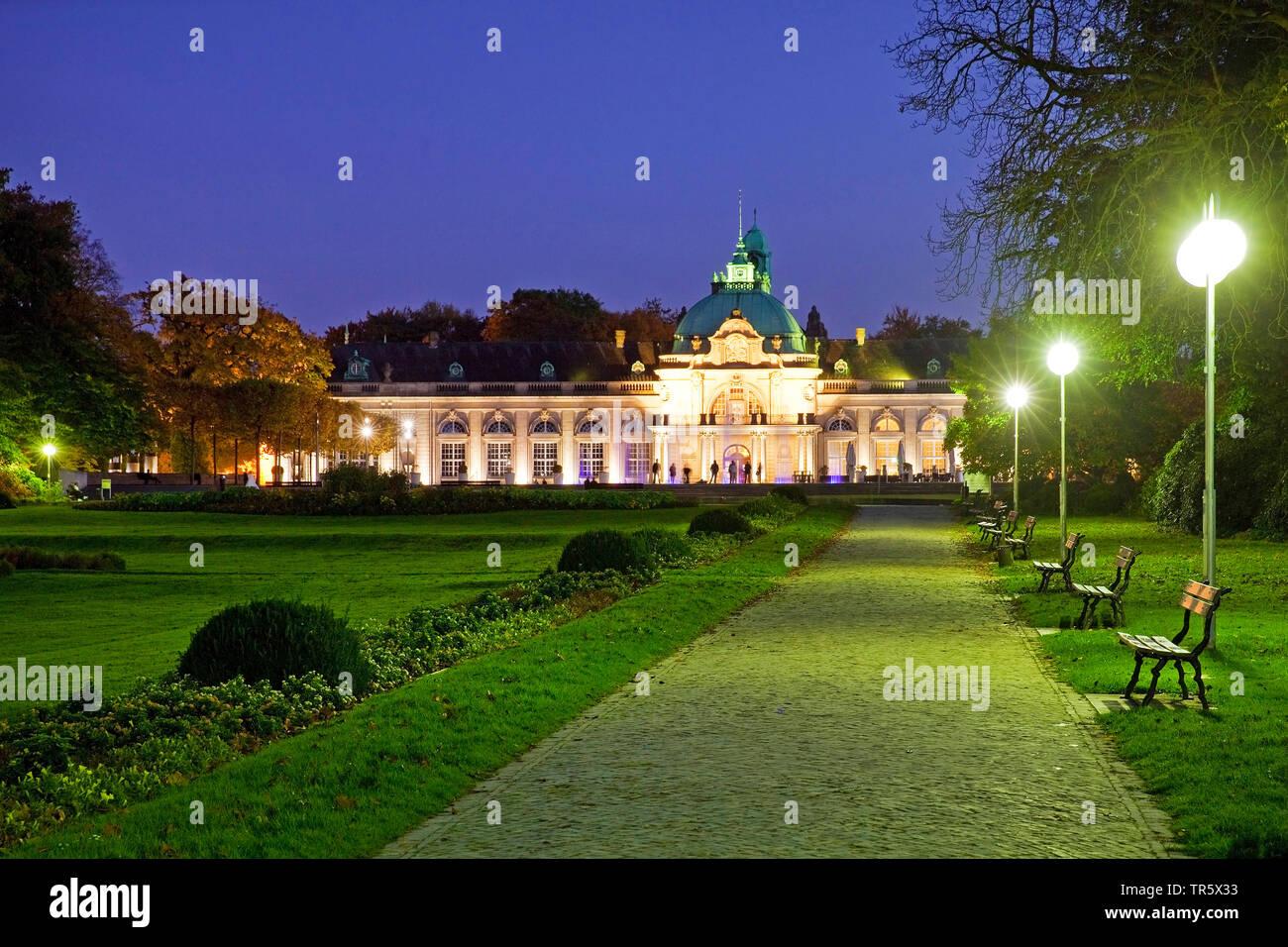 illuminated Kaiserpalais in the spa park at blue hour, Germany, North Rhine-Westphalia, East Westphalia, Bad Oeynhausen Stock Photo