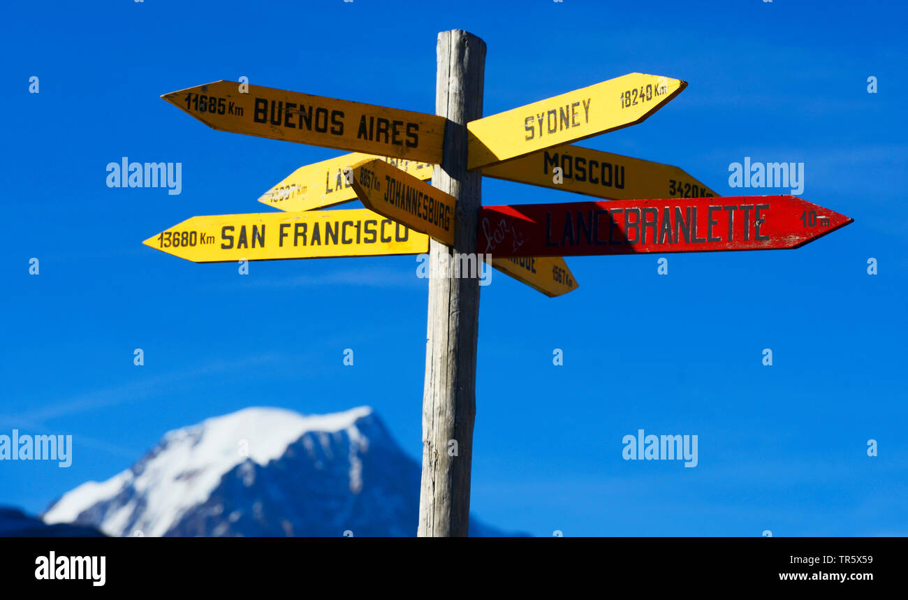 distances to different towns at a direction sign on petit saint Bernard, Mont Blanc in the background, France, Savoie - Stock Image