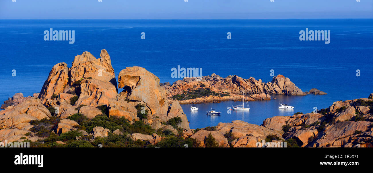 Sail boats in the morning at the bay called Conca, France, Corsica - Stock Image