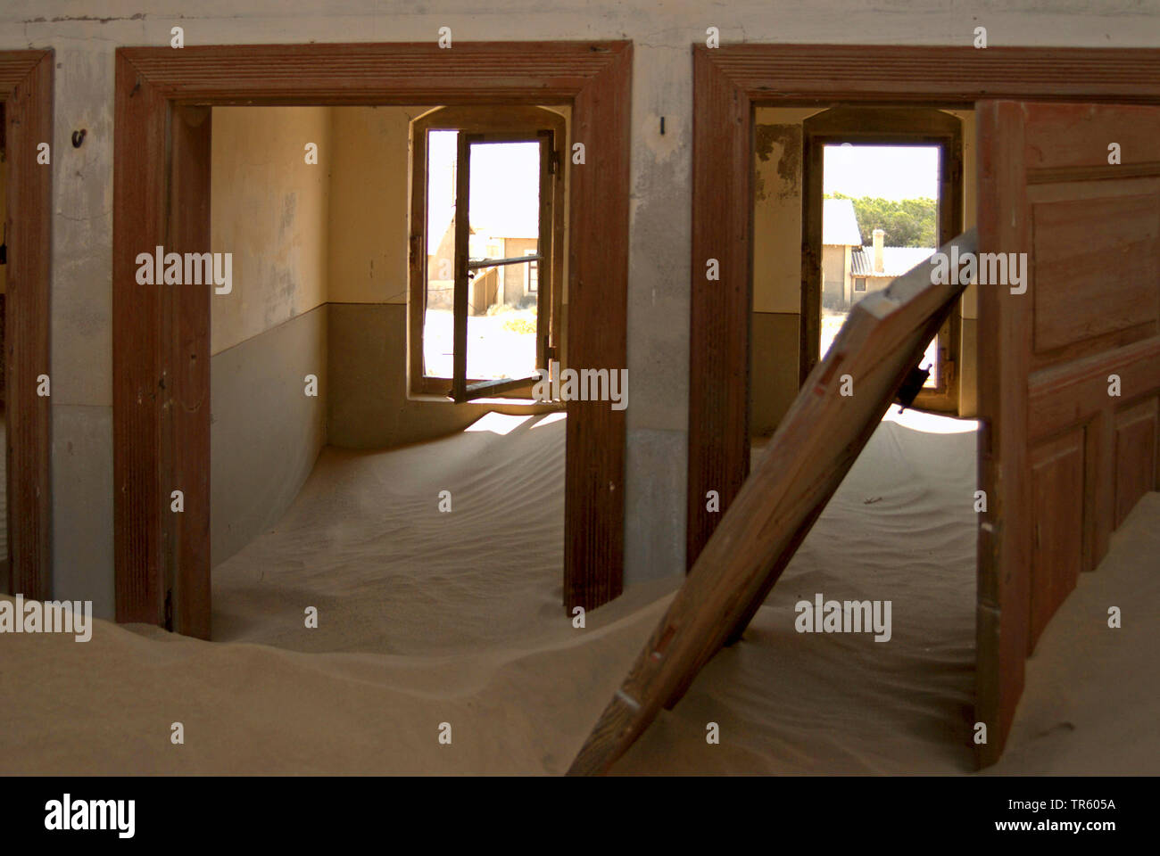 house in the ghost town Kolmannskuppe, interior, Namibia, Kolmannskuppe - Stock Image