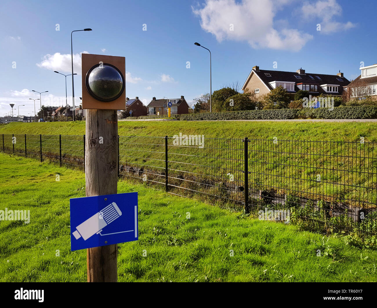 observation camera on a meadow, Netherlands - Stock Image