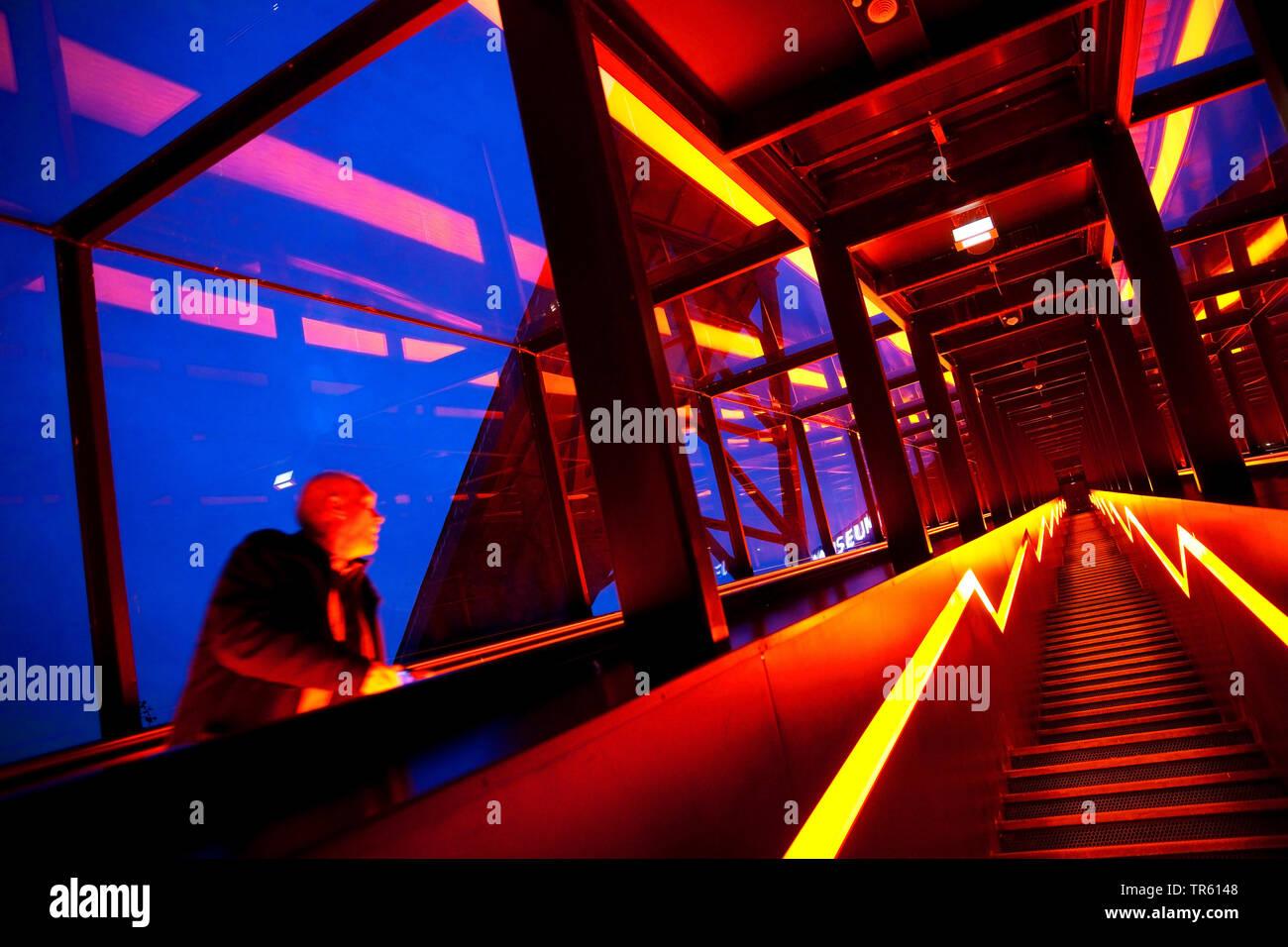 illuminated stairways to the Ruhr Museum, Zeche Zollverein, Zollverein Coal Mine Industrial Complex, Germany, North Rhine-Westphalia, Ruhr Area, Essen - Stock Image
