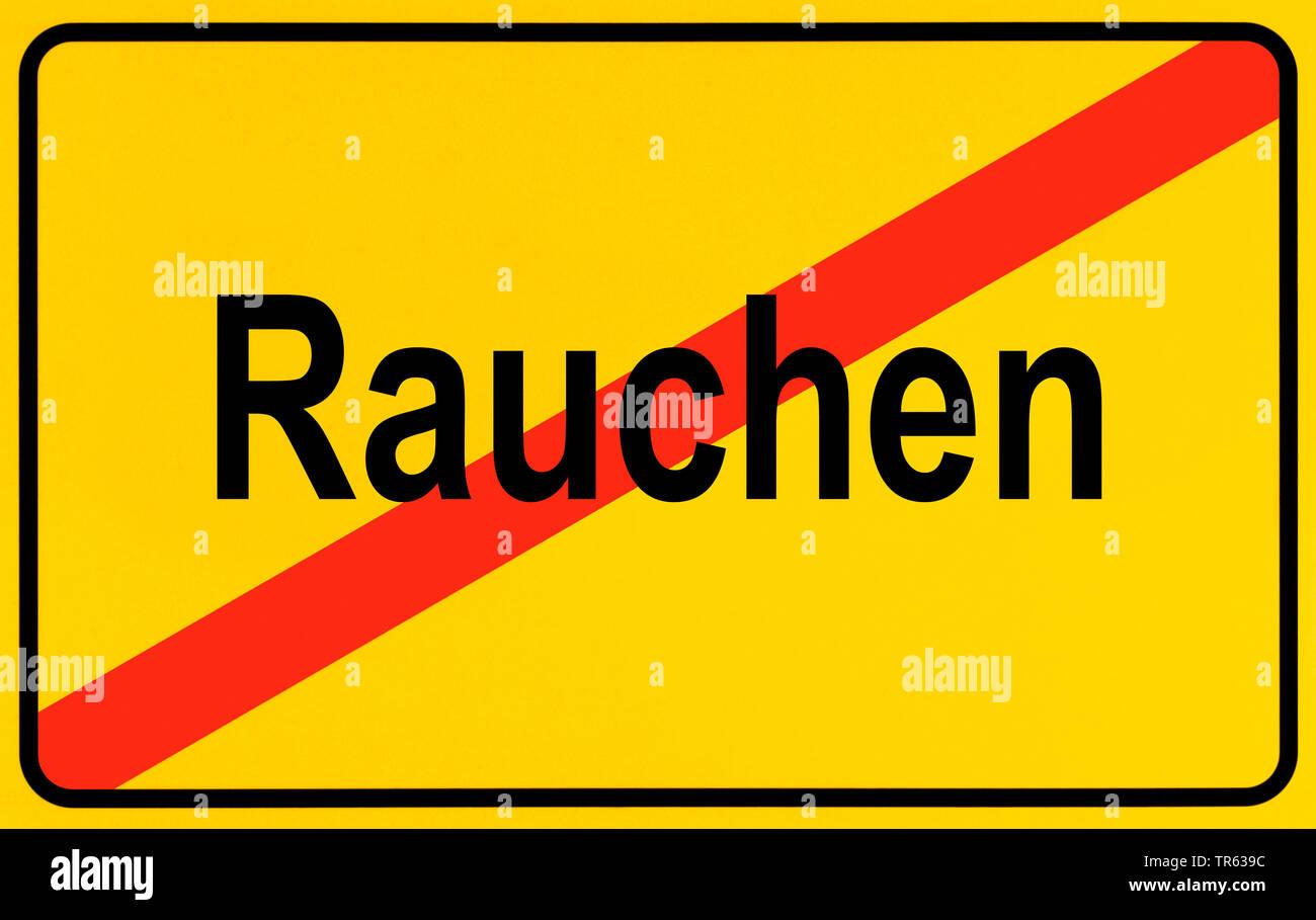 Ortsausgangsschild Rauchen, Symbolbild Rauchen verboten, Deutschland   city limit sign Rauchen, smoking, Germany   BLWS472309.jpg [ (c) blickwinkel/Mc - Stock Image