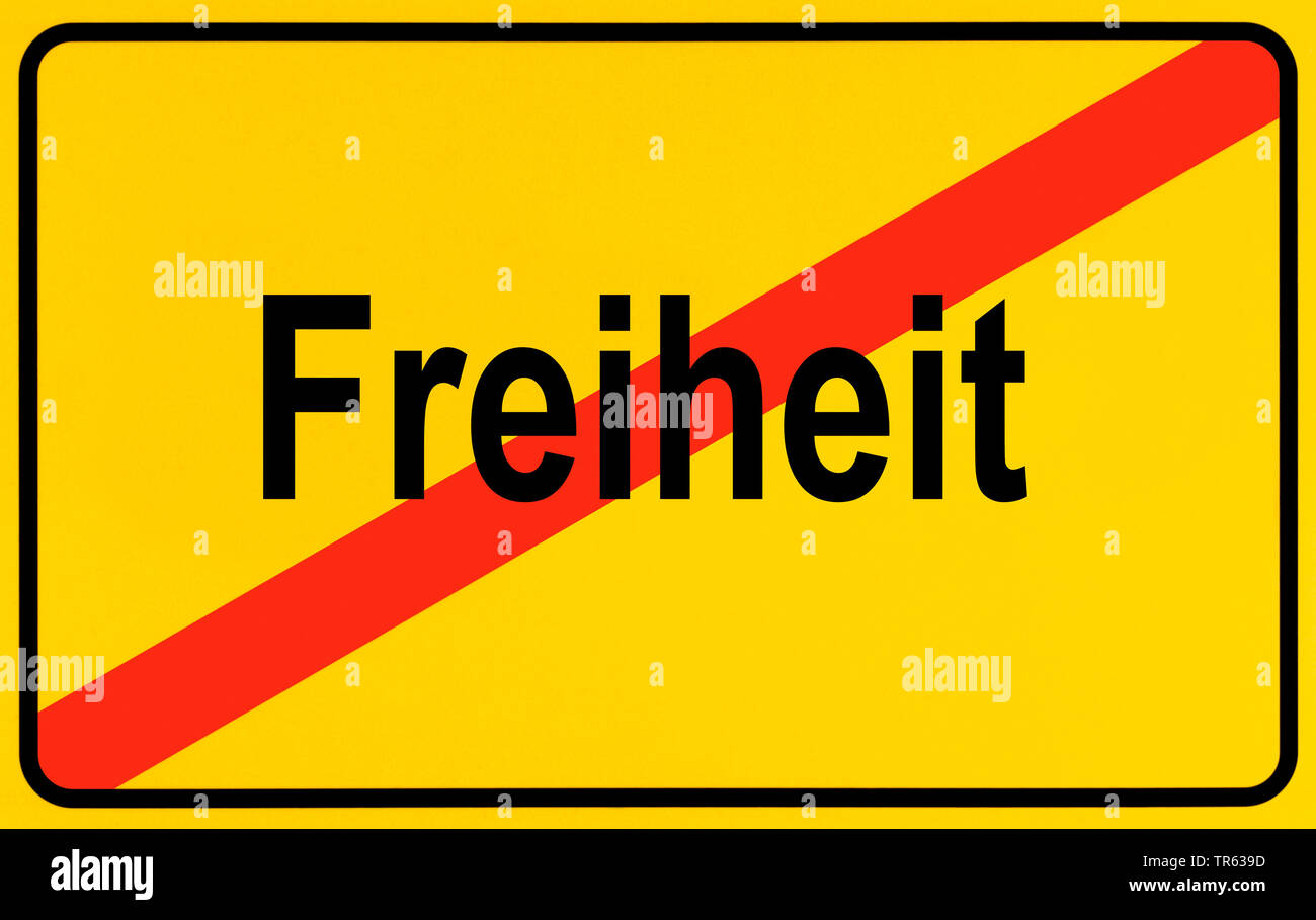Ortsausgangsschild Freiheit, Symbolbild fuer Einschraenkung der Freiheit, Gefaengnisstrafe, Deutschland | city limit sign Freiheit, freedom, Germany | - Stock Image