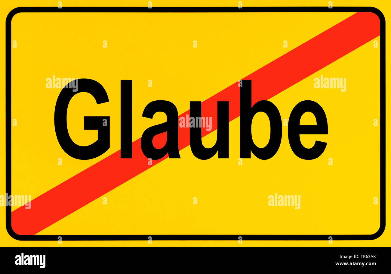 city limit sign Glaube, piety, Germany Stock Photo