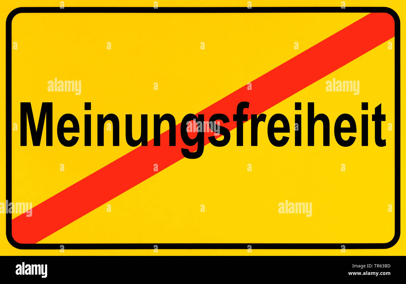 city limit sign Meinungsfreiheit, freedom of expression, Germany - Stock Image
