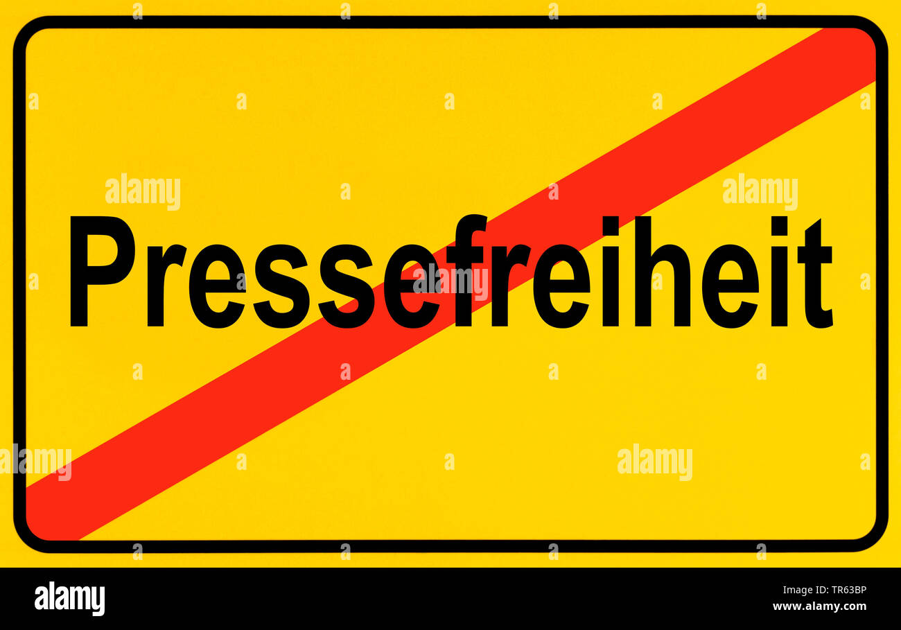 city limit sign Pressefreiheit, press freedom, Germany - Stock Image