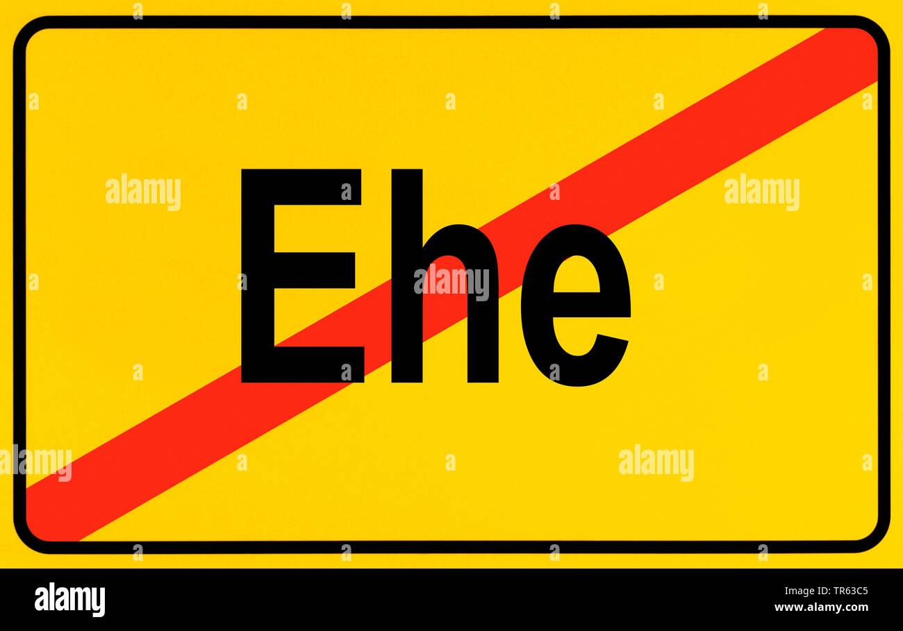 city limit sign, Ehe, divorce, Germany - Stock Image