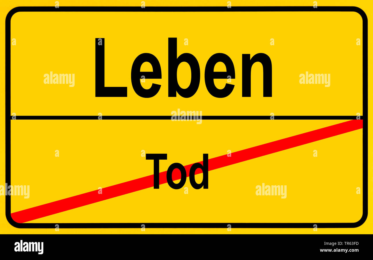 city limit sign Leben / Tod, life / death, Germany Stock Photo