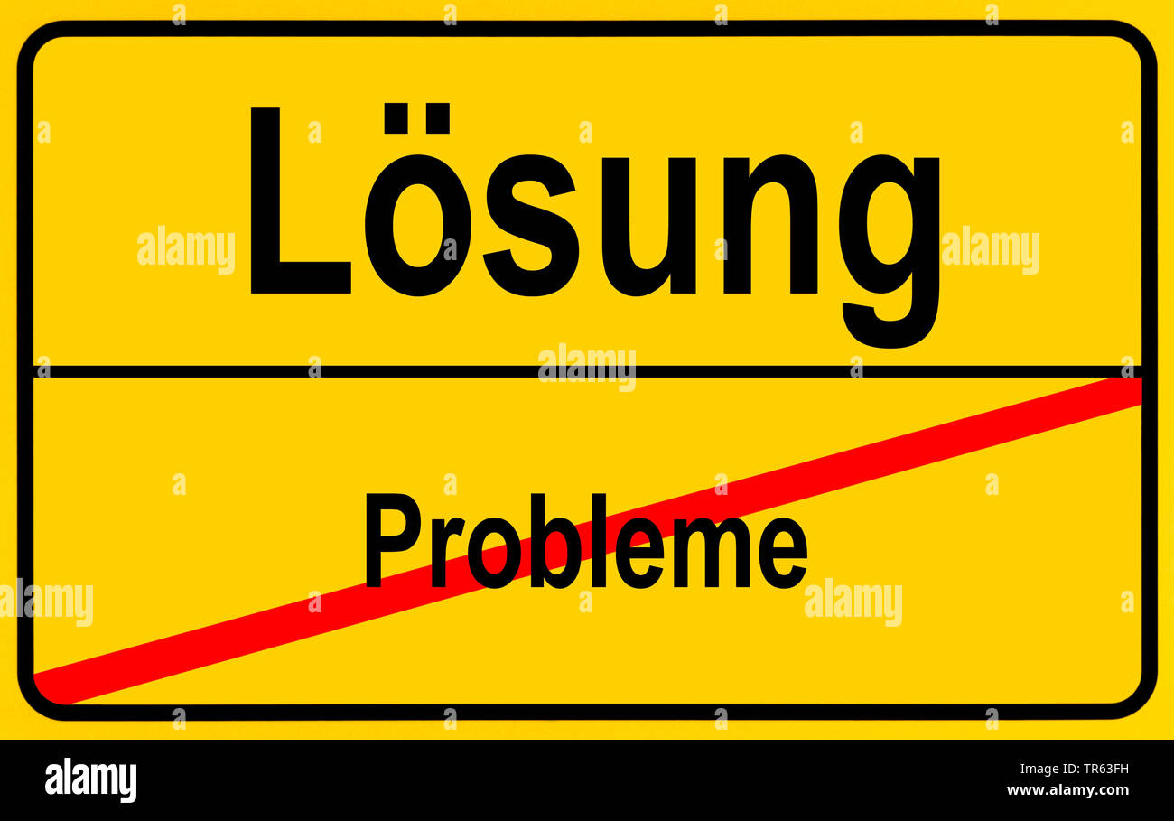 city limit sign Loesung / Probleme, solution / problems, Germany - Stock Image