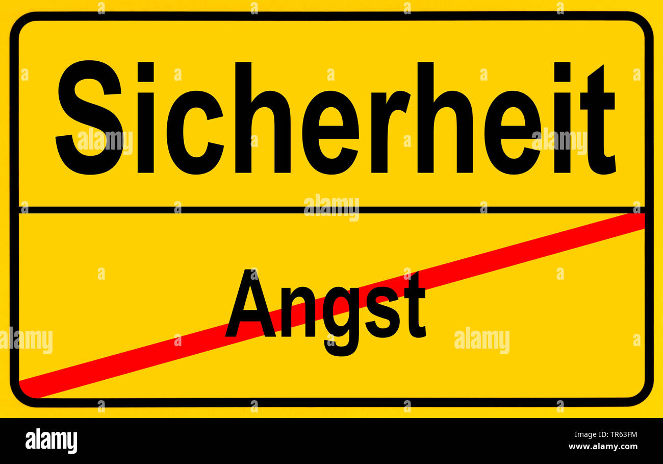 city limit sign Sicherheit / Angst, safety / fright, Germany - Stock Image