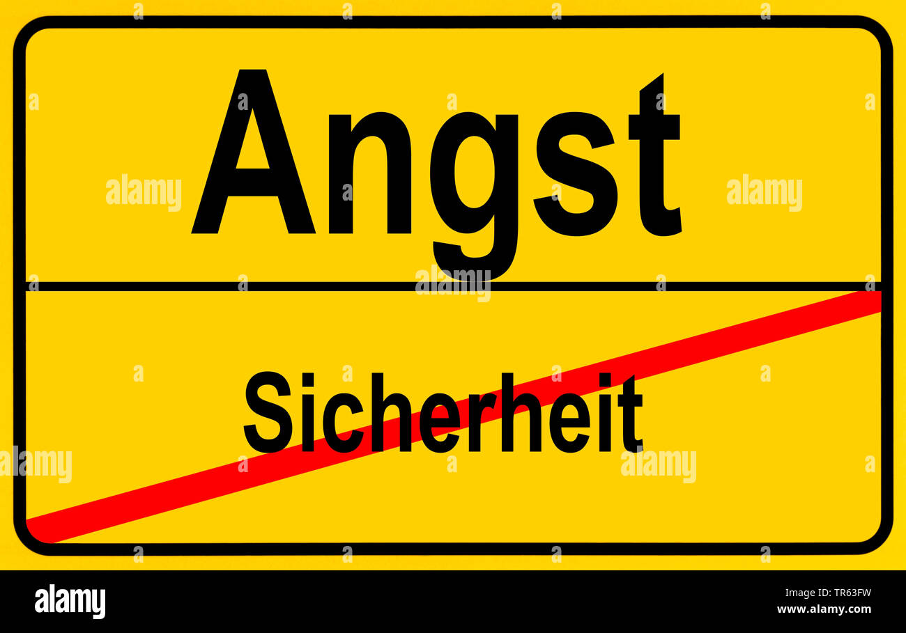 city limit sign Angst / Sicherheit, fright / safety, Germany - Stock Image