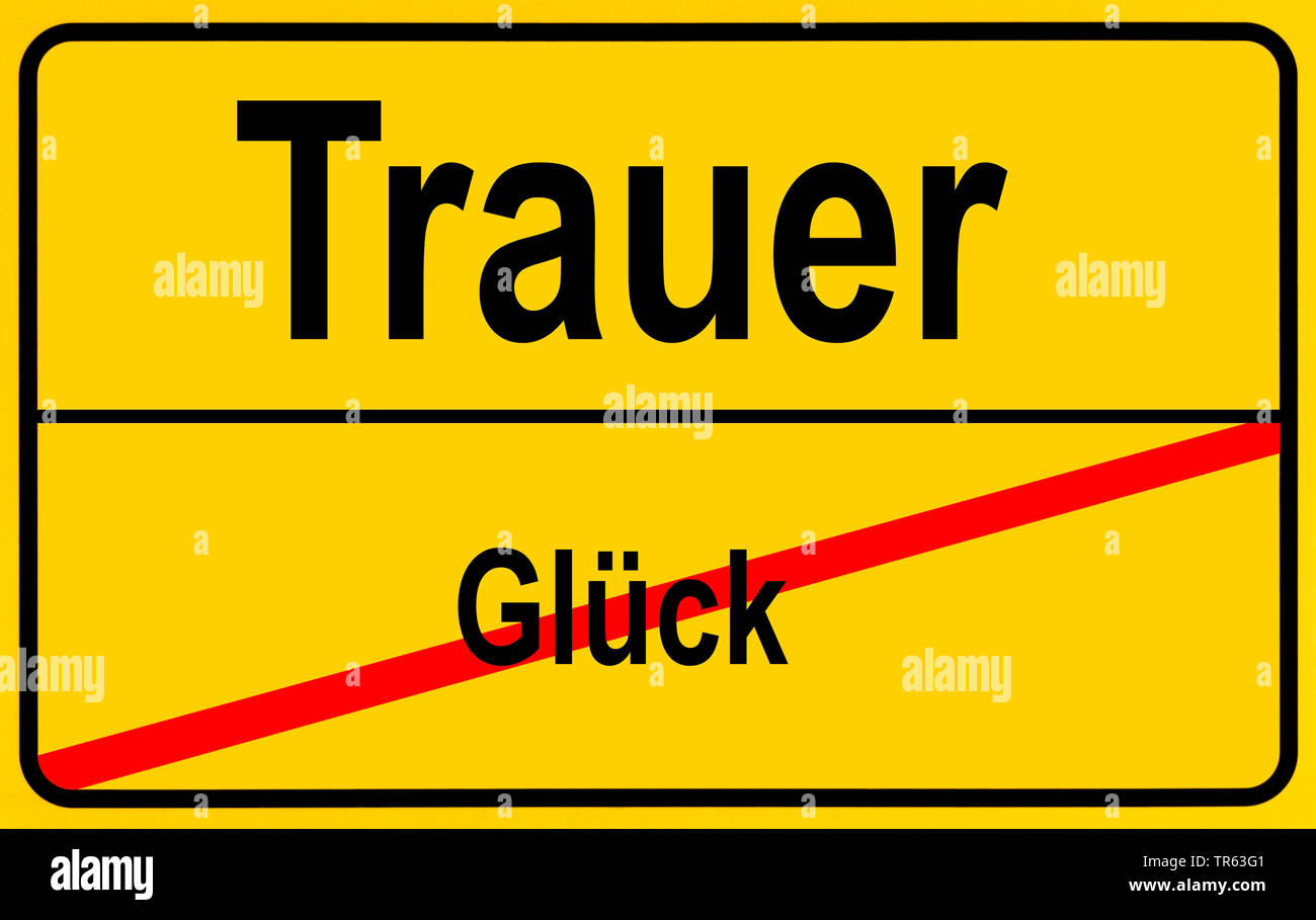 city limit sign Glueck / Freude, sorrow / luck, Germany Stock Photo