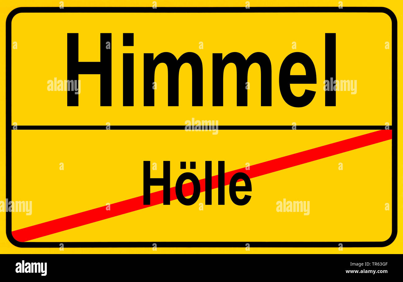 city limit sign Himmel / Hoelle, sky / hell, Germany - Stock Image