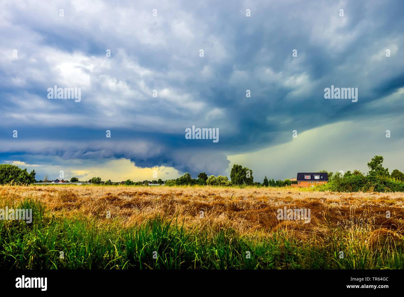 thunderstorm ober Kirchwerder, Germany, Hamburg Stock Photo