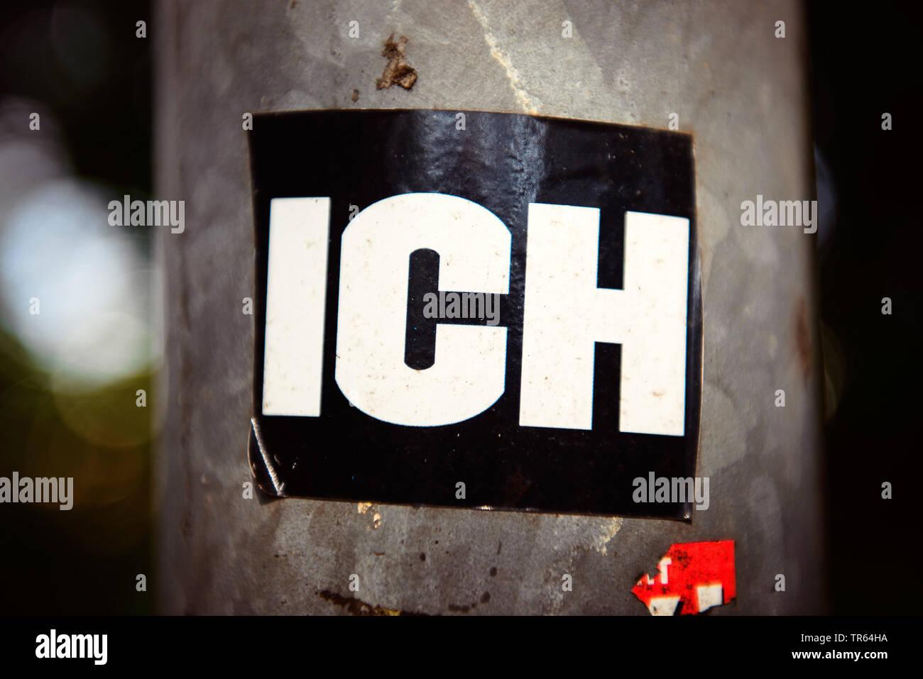 Aufkleber mit der Aufschrift ICH, Deutschland | sticker ich, me, Germany | BLWS473408.jpg [ (c) blickwinkel/McPHOTO/C. Ohde Tel. +49 (0)2302-2793220, - Stock Image