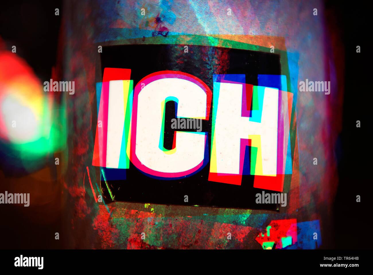 Aufkleber mit der Aufschrift ICH, Deutschland | sticker ich, me, Germany | BLWS473409.jpg [ (c) blickwinkel/McPHOTO/C. Ohde Tel. +49 (0)2302-2793220, - Stock Image