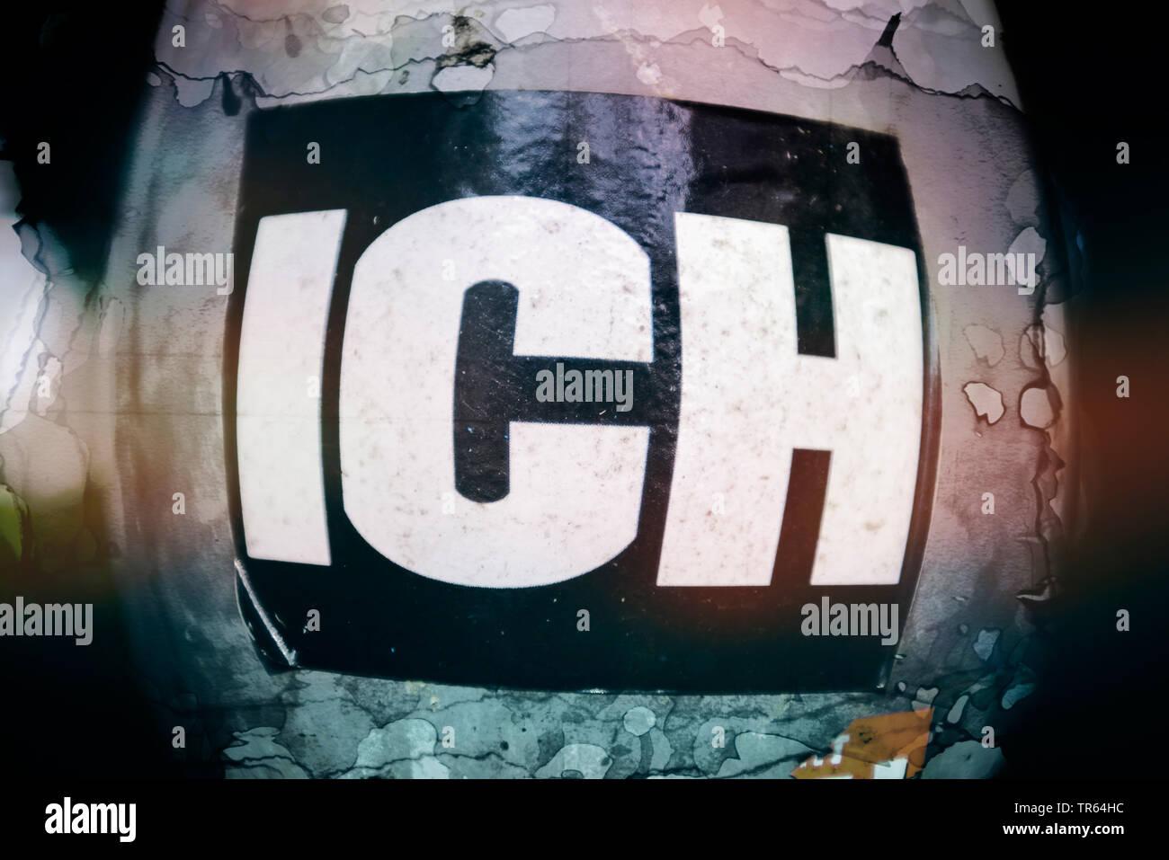 Aufkleber mit der Aufschrift ICH, Deutschland | sticker ich, me, Germany | BLWS473410.jpg [ (c) blickwinkel/McPHOTO/C. Ohde Tel. +49 (0)2302-2793220, - Stock Image
