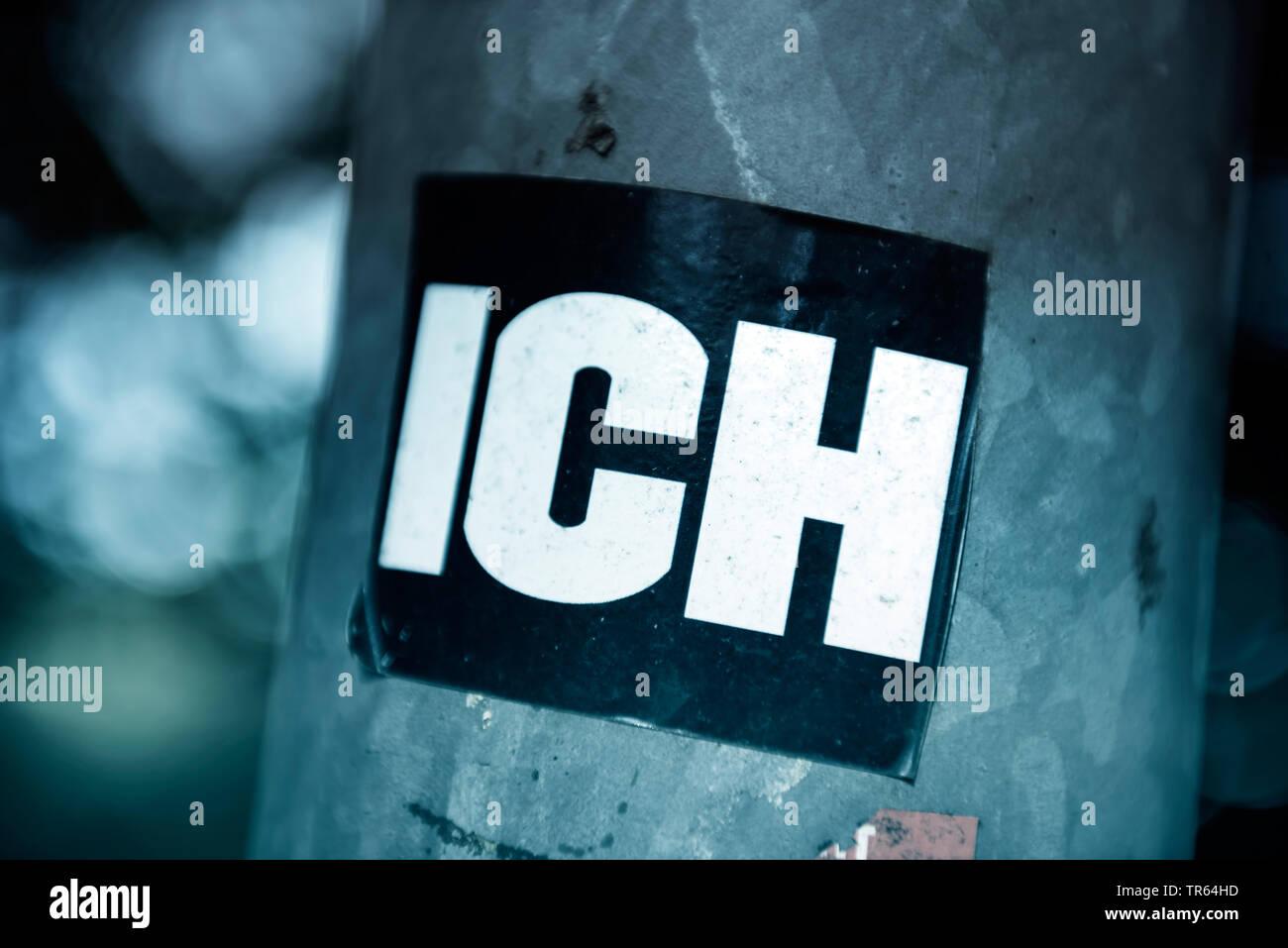 Aufkleber mit der Aufschrift ICH, Deutschland | sticker ich, me, Germany | BLWS473411.jpg [ (c) blickwinkel/McPHOTO/C. Ohde Tel. +49 (0)2302-2793220, - Stock Image
