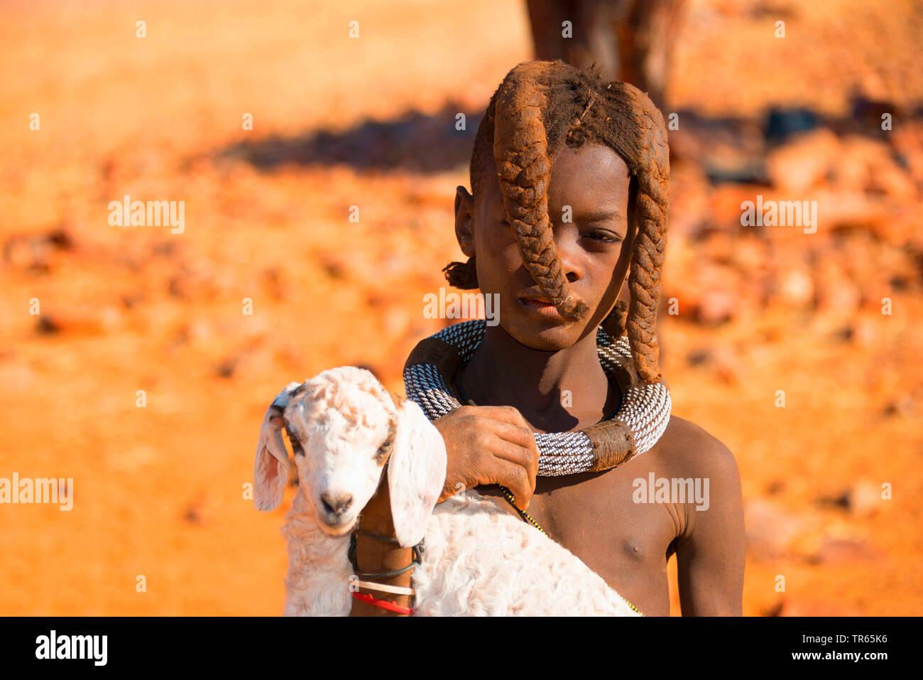 Himbamaedchen traegt Lamm, Namibia | Himba girl carrying a lamb, Namibia | BLWS474285.jpg [ (c) blickwinkel/McPHOTO/F. Scholz Tel. +49 (0)2302-2793220 - Stock Image