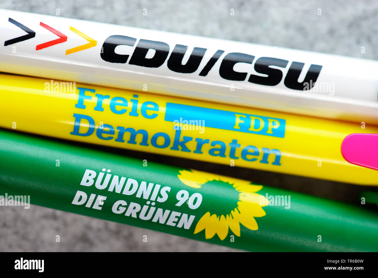 ball-pens of the partys CDU/CSU, FDP and Buendnis 90 die Gruenen, jamaica coalation, Germany Stock Photo