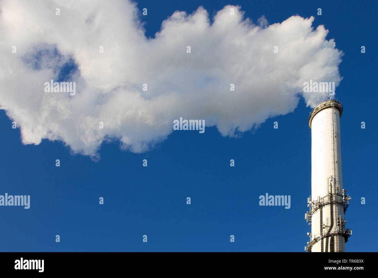 smoking chimney of an refuse destructors, Germany, Hesse Stock Photo