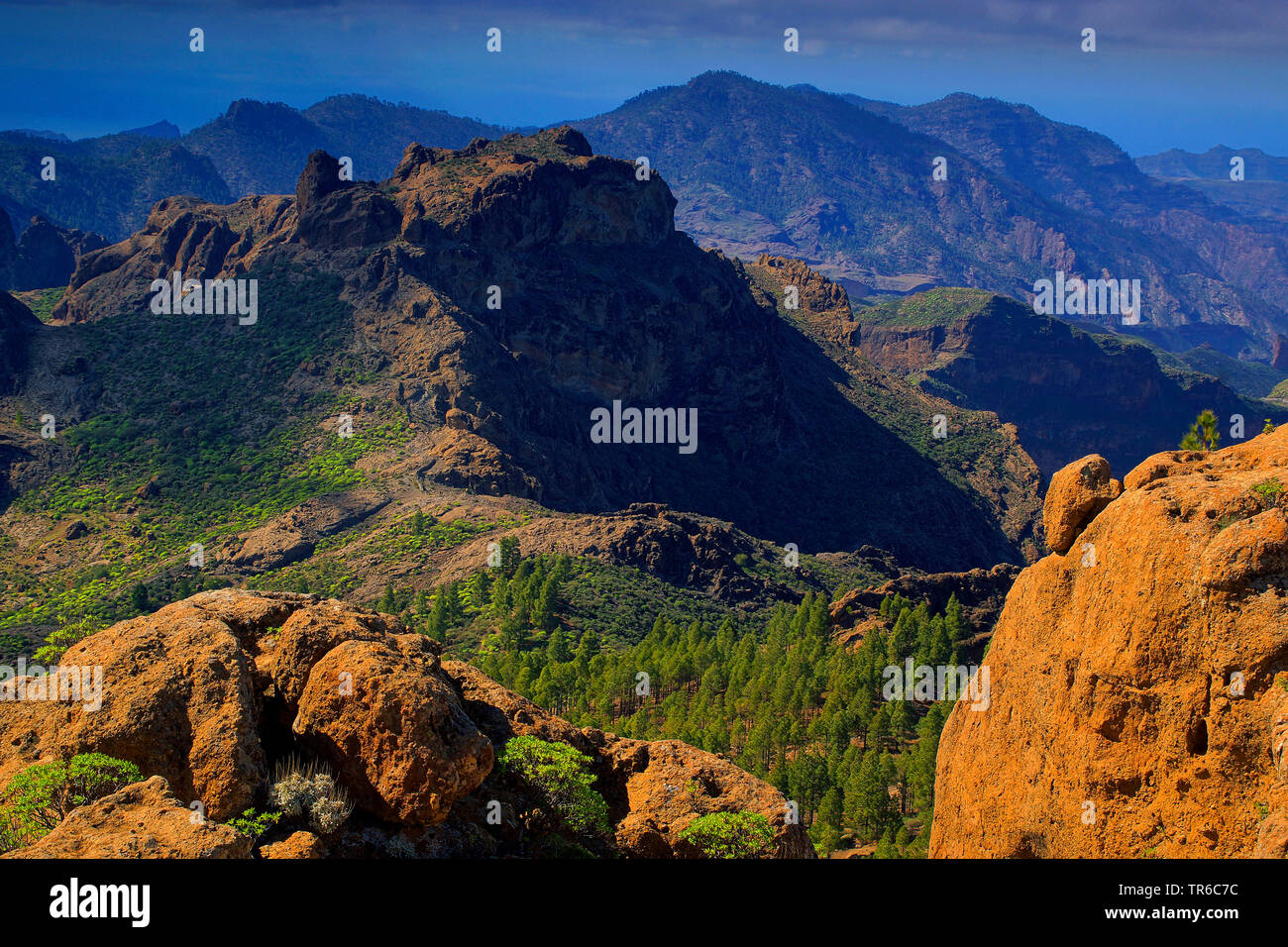 Gebirgslandschaft monumento natural del roque nublo, Kanaren, Gran Canaria | mountain scenery monumento natural del roque nublo, Canary Islands, Gran - Stock Image