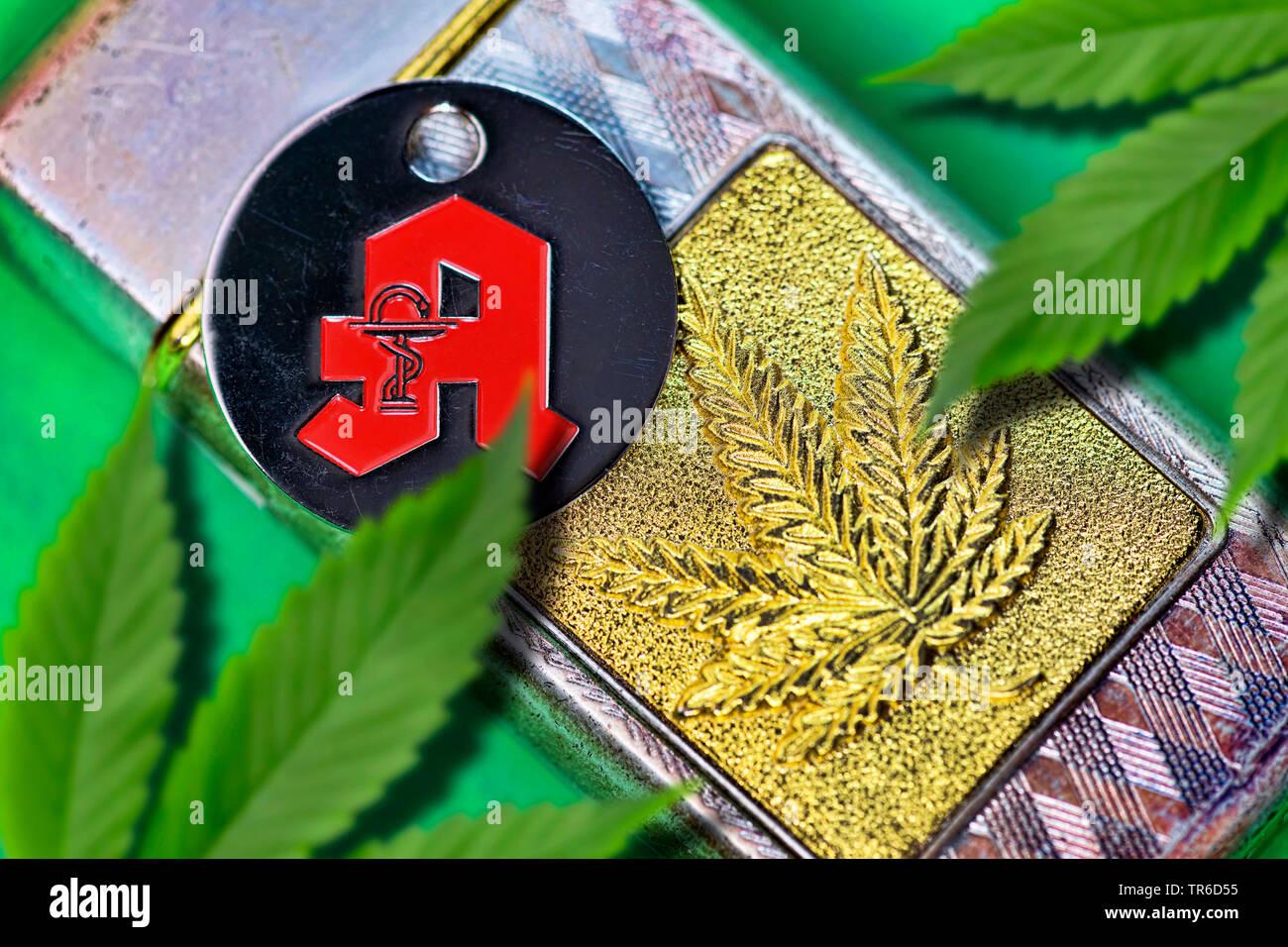 Hanf (Cannabis sativa), Hanfblatt auf einem Feuerzeug und Apotheken-Zeichen, Zulassung von Cannabis als Medizin, Deutschland | Indian hemp, marijuana, - Stock Image