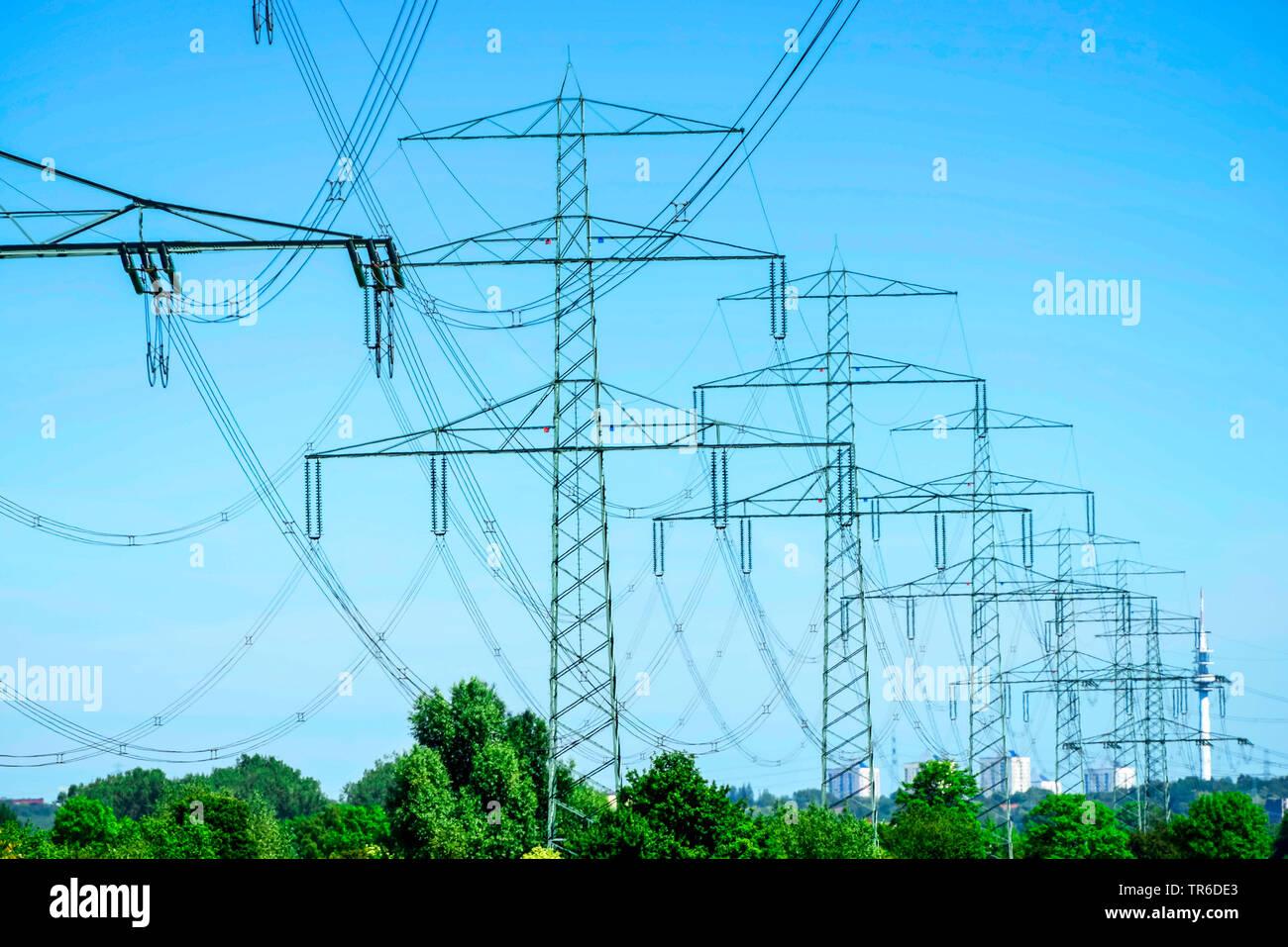 power poles in Hamburg, Germany, Vier- und Marschlande - Stock Image
