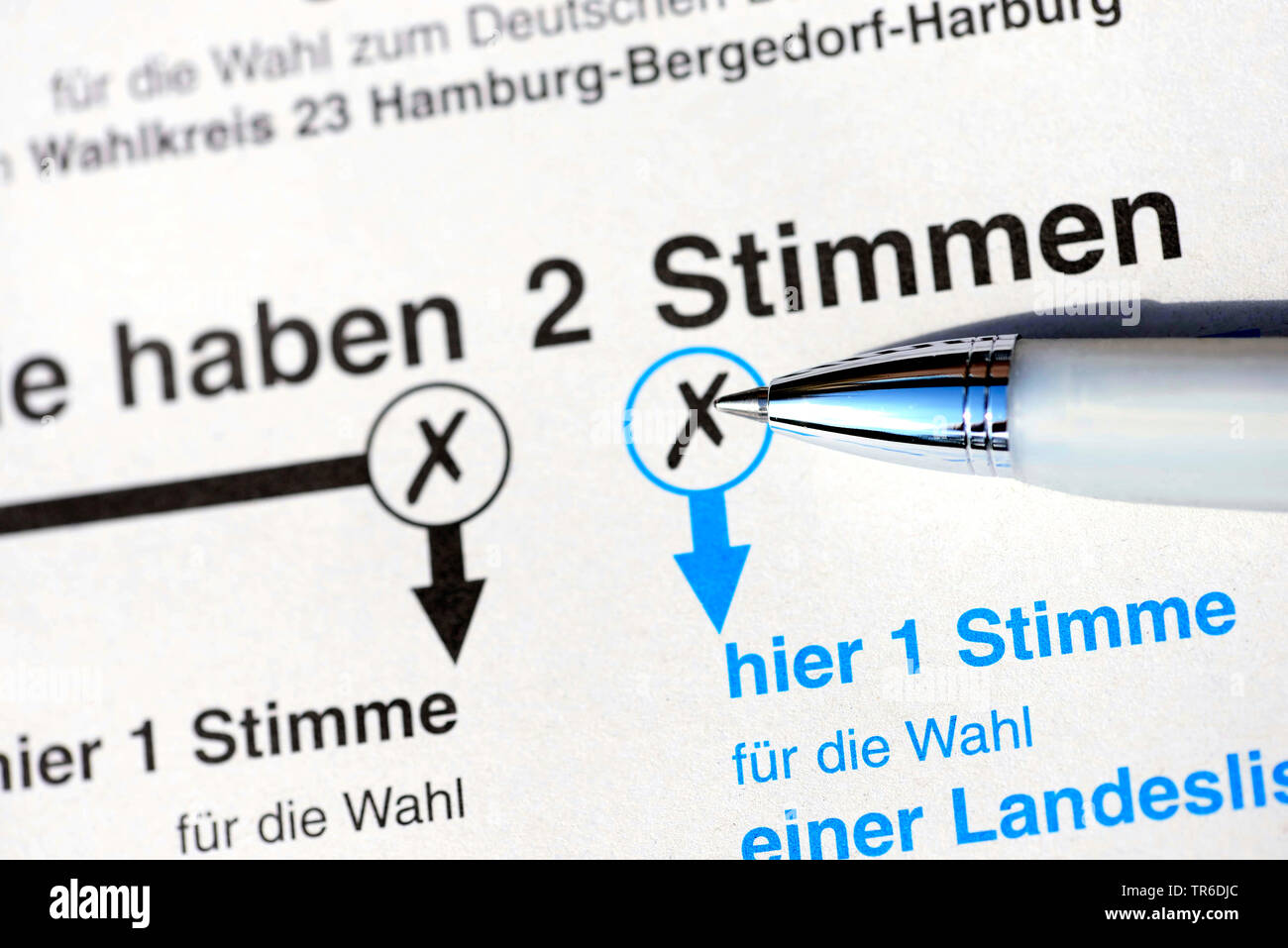 ballot paper for German elections, Germany - Stock Image