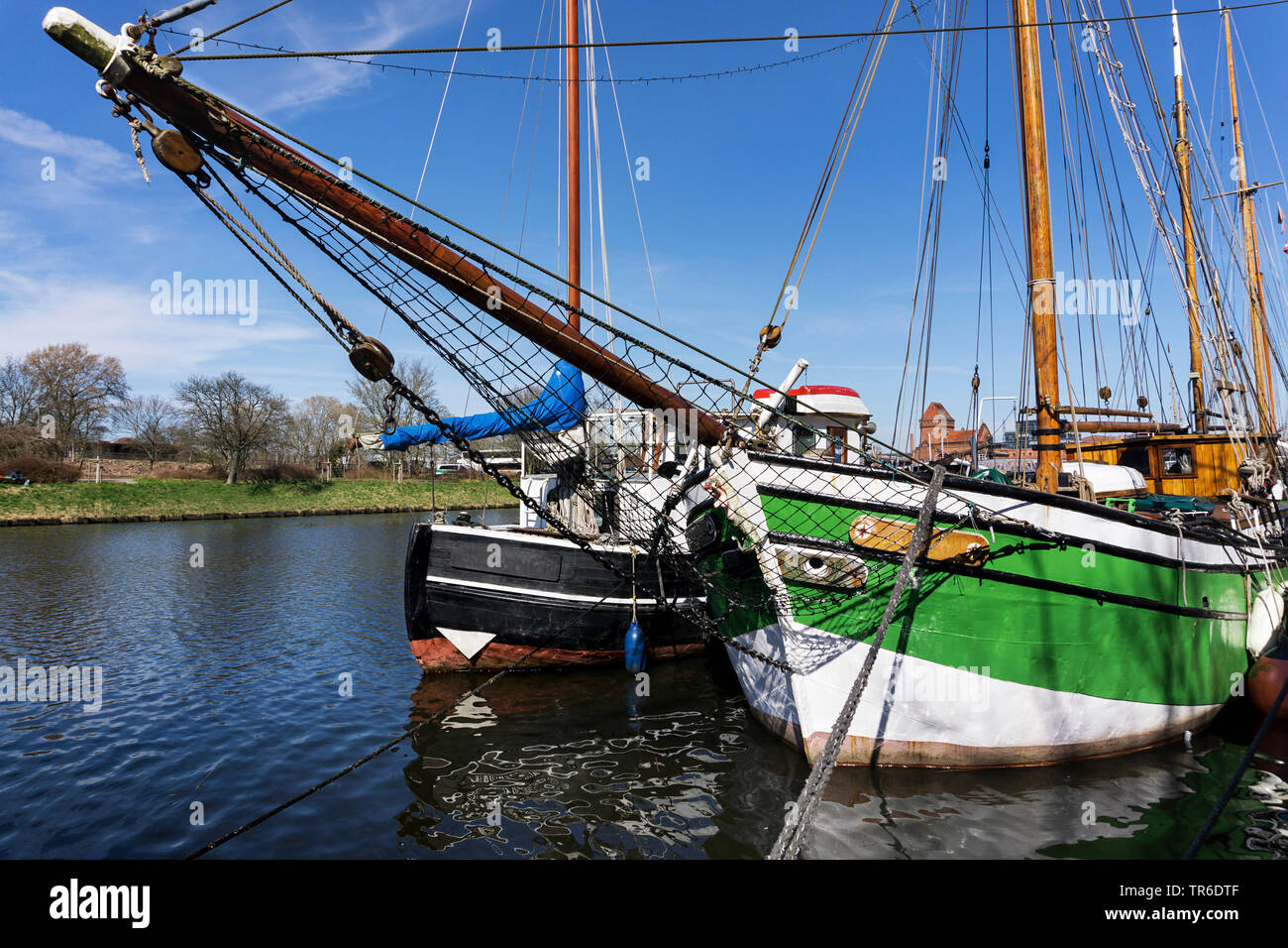 historical ships on river Trave in Luebeck, Germany, Schleswig-Holstein, Luebeck - Stock Image