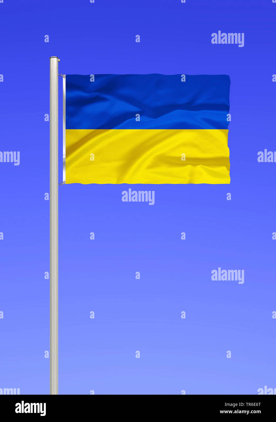 flag of Ukraine against blue sky, Ukraine Stock Photo