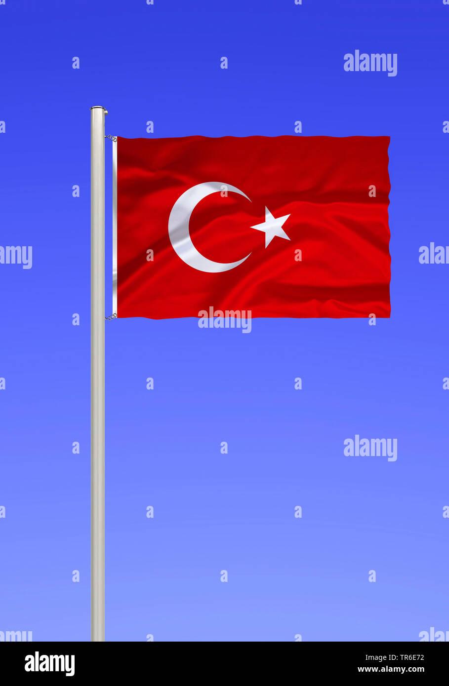Flagge der Tuerkei vor blauem Himmel, Tuerkei | flag of Turkey against blue sky, Turkey | BLWS481804.jpg [ (c) blickwinkel/McPHOTO/K. Steinkamp Tel. + - Stock Image