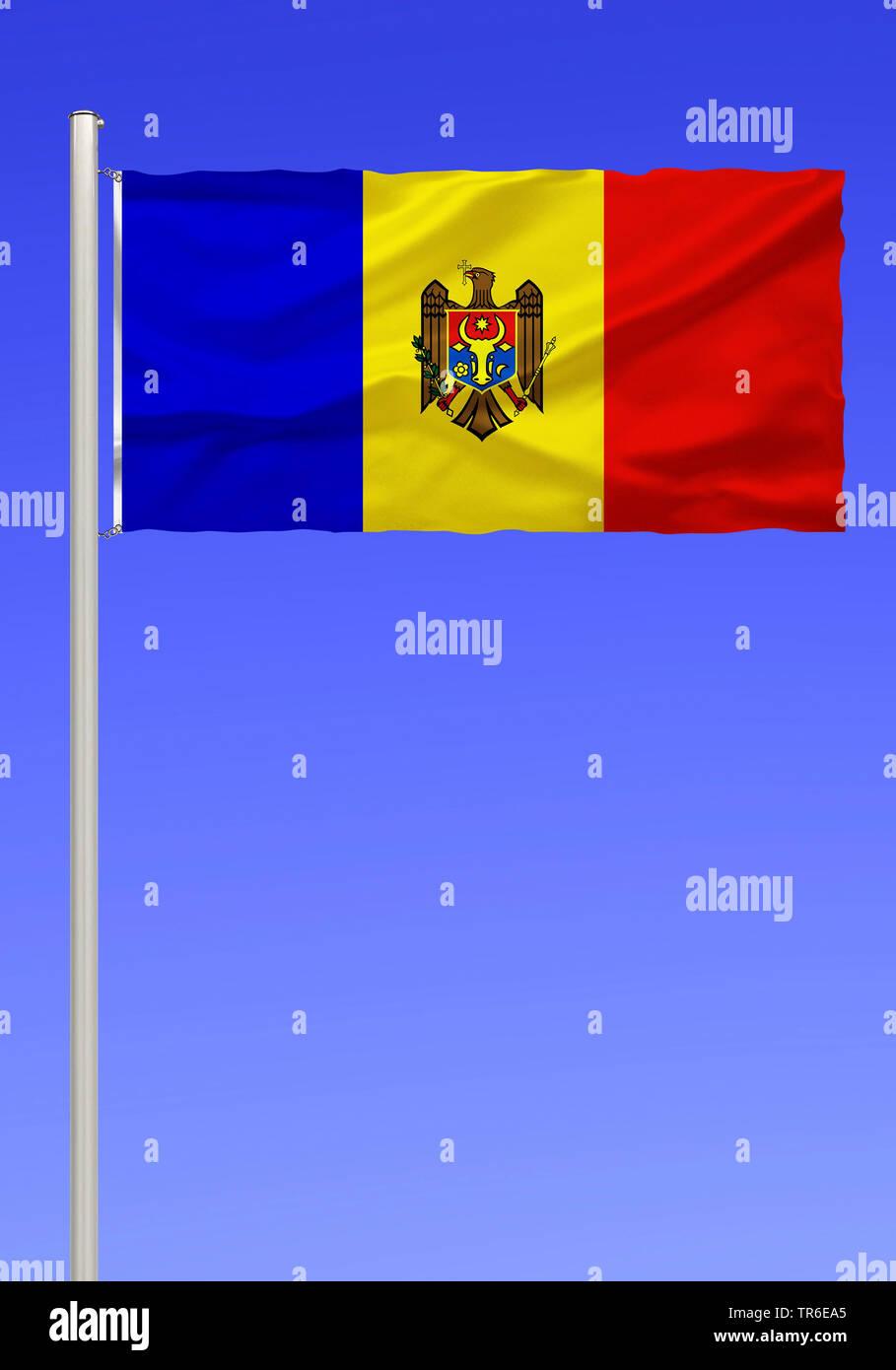 flag of Moldova against blue sky, Moldova - Stock Image