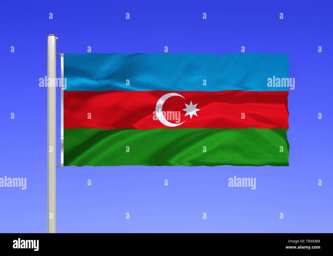 Flagge von Aserbaidschan vor blauem Himmel, Aserbaidschan | flag of Azerbaijan against blue sky, Azerbaijan | BLWS481941.jpg [ (c) blickwinkel/McPHOTO - Stock Image