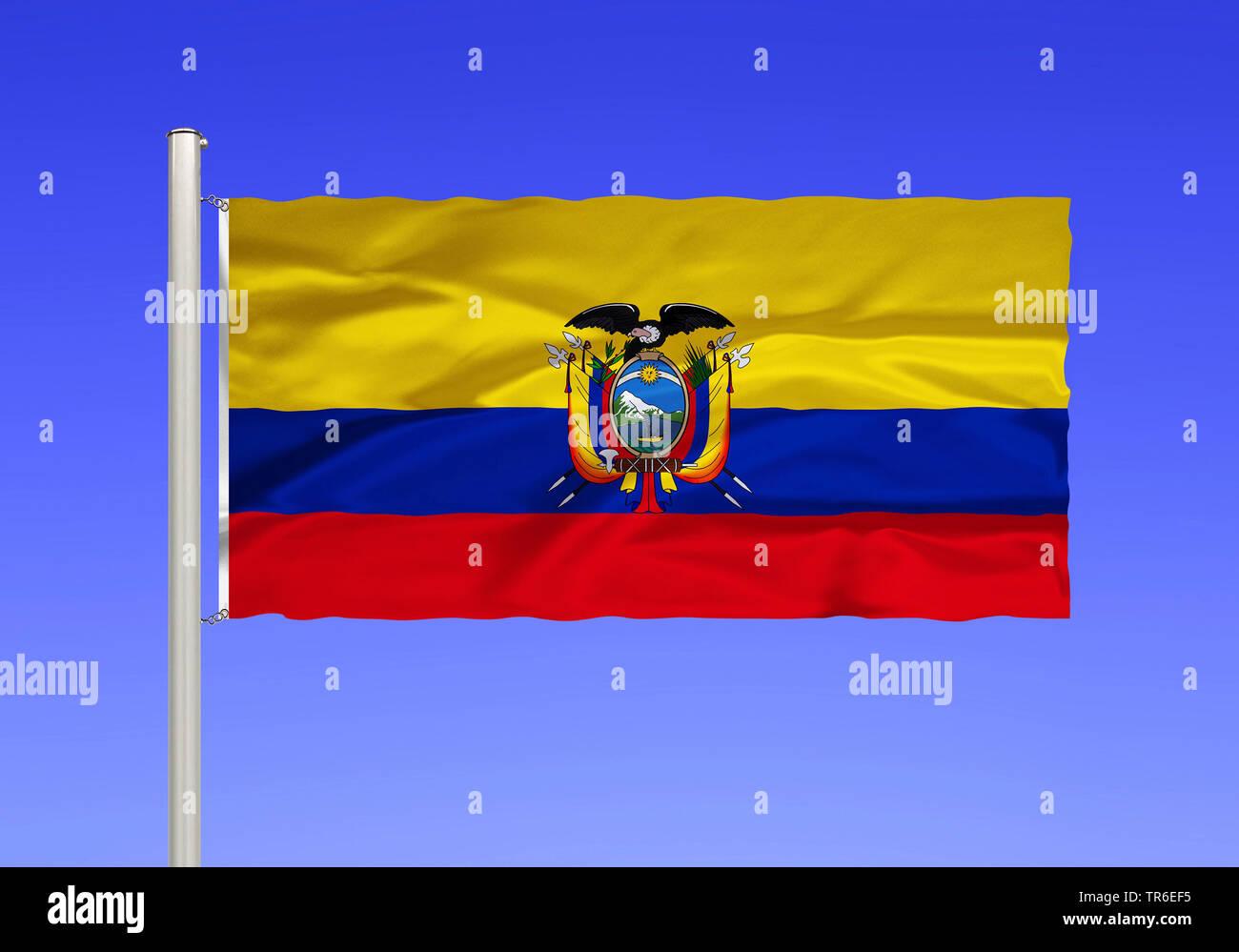 Flagge von Ecuador vor blauem Himmel, Ecuador | flag of Ecuador against blue sky, Ecuador | BLWS482038.jpg [ (c) blickwinkel/McPHOTO/K. Steinkamp Tel. - Stock Image