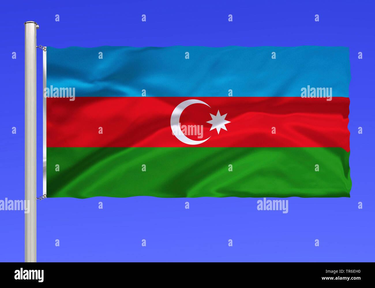 Flagge von Aserbaidschan vor blauem Himmel, Aserbaidschan | flag of Azerbaijan against blue sky, Azerbaijan | BLWS482089.jpg [ (c) blickwinkel/McPHOTO - Stock Image