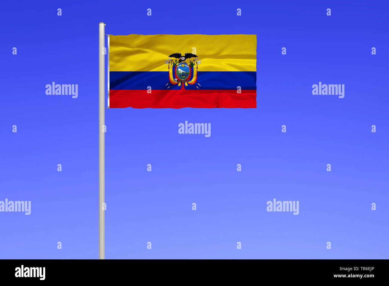 Flagge von Ecuador vor blauem Himmel, Ecuador | flag of Ecuador against blue sky, Ecuador | BLWS482139.jpg [ (c) blickwinkel/McPHOTO/K. Steinkamp Tel. - Stock Image