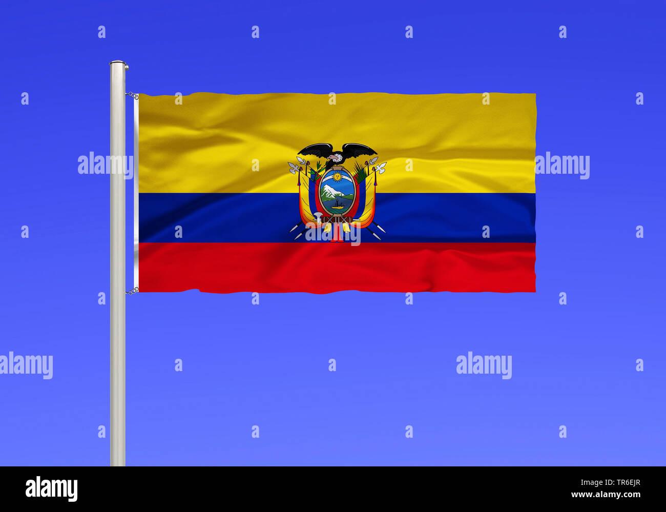 Flagge von Ecuador vor blauem Himmel, Ecuador | flag of Ecuador against blue sky, Ecuador | BLWS482140.jpg [ (c) blickwinkel/McPHOTO/K. Steinkamp Tel. - Stock Image