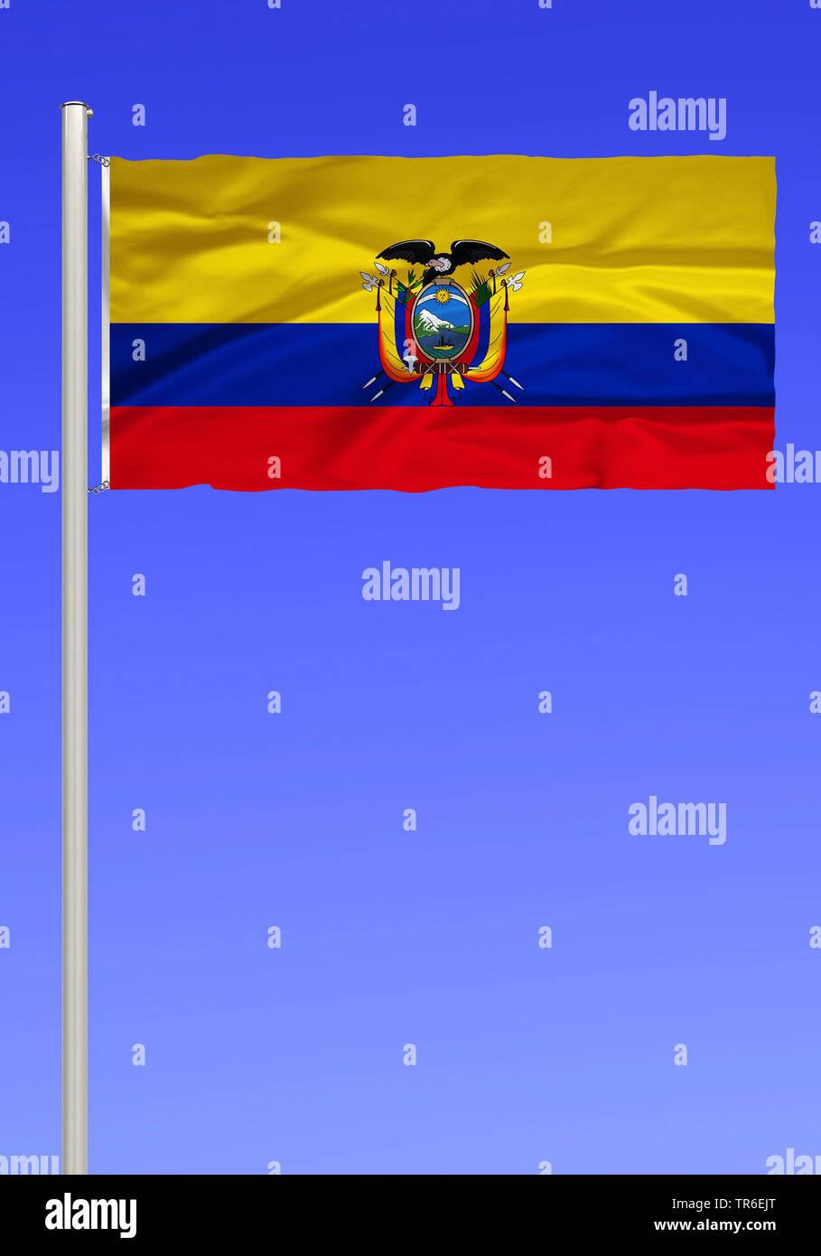 Flagge von Ecuador vor blauem Himmel, Ecuador | flag of Ecuador against blue sky, Ecuador | BLWS482141.jpg [ (c) blickwinkel/McPHOTO/K. Steinkamp Tel. - Stock Image